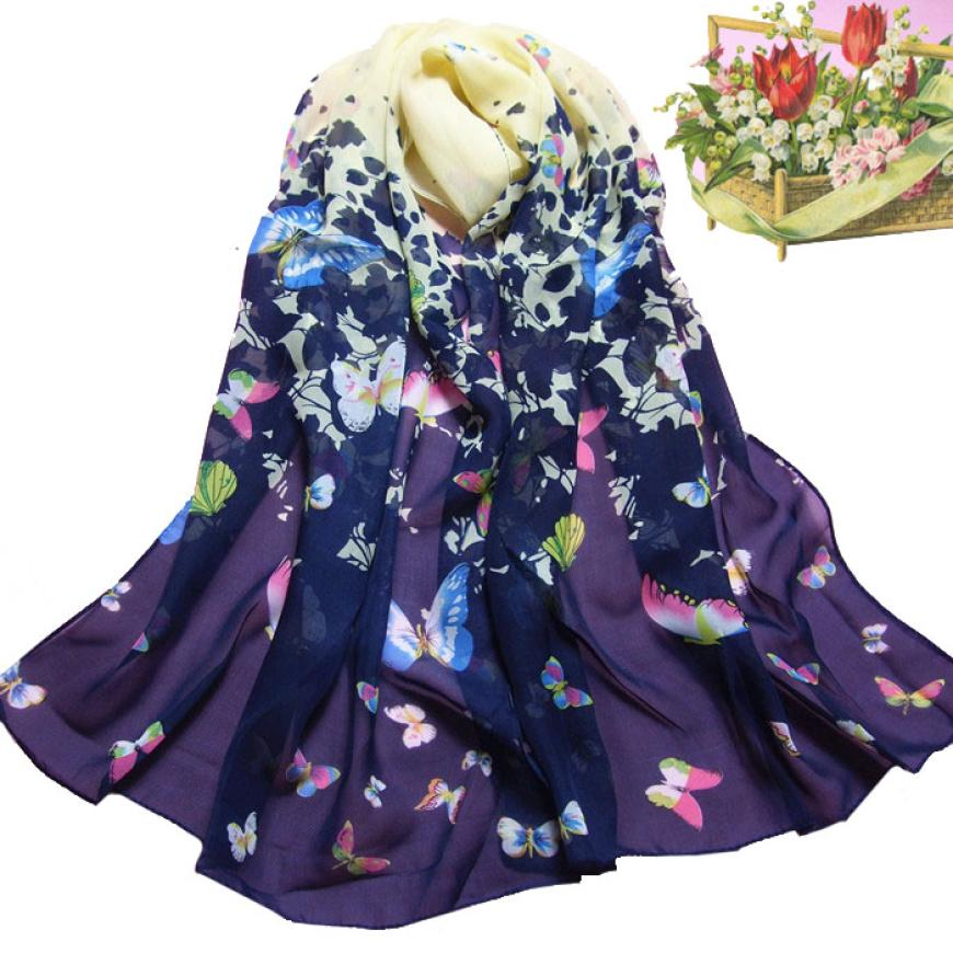 Women's Beautiful Butterfly Printed Flower Chiffon Scarf