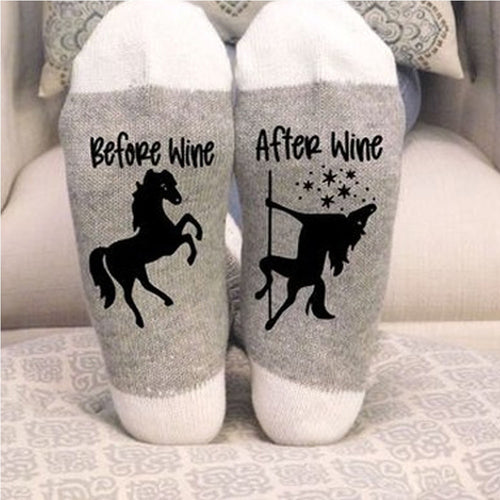 Stylish Horse and Wine Socks Keep Warm and Comfortable Cotton Socks