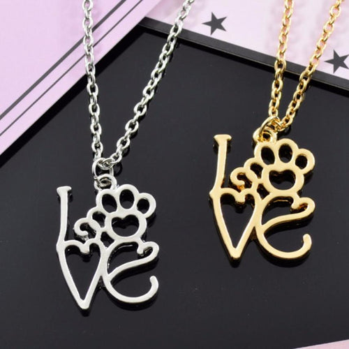 Love Paws Dog Feet Pendant Necklace