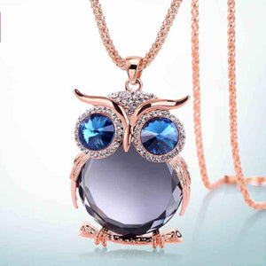 Charmant Owl Rhinestone Necklace Jewelry