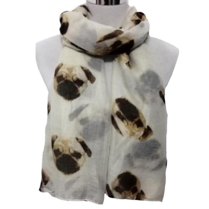 Long and Cute Printed Women's Scarf for Pug and Dog Lovers