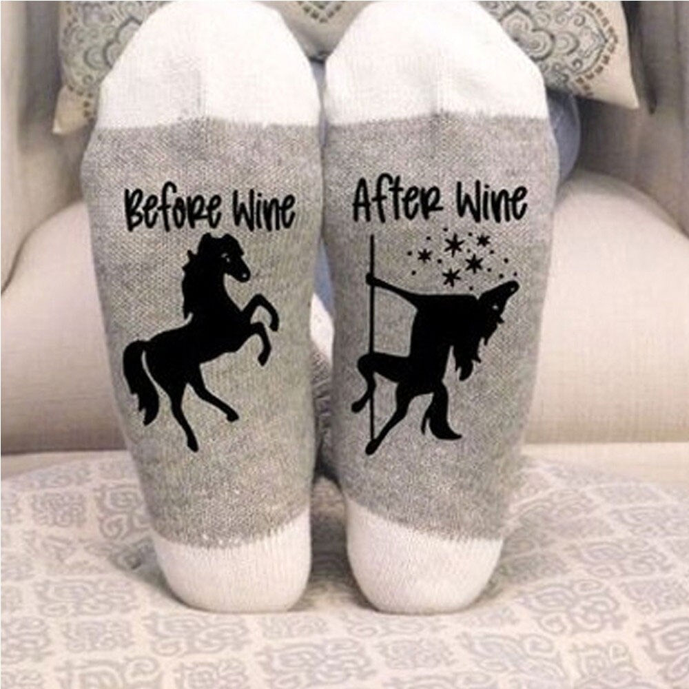 Stylish Horse and Wine Socks Keep Your Foot Warm and Comfortable