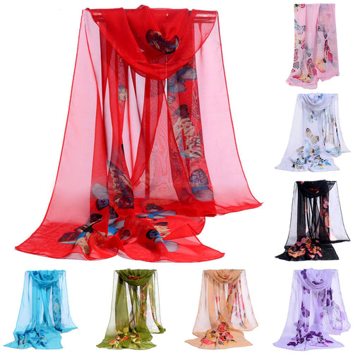Beautiful Butterfly Printed Ladies Chiffon Scarf