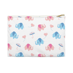 Happy Cute Elephants Accessory Pouch