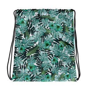Green Floral Nature Drawstring Bag