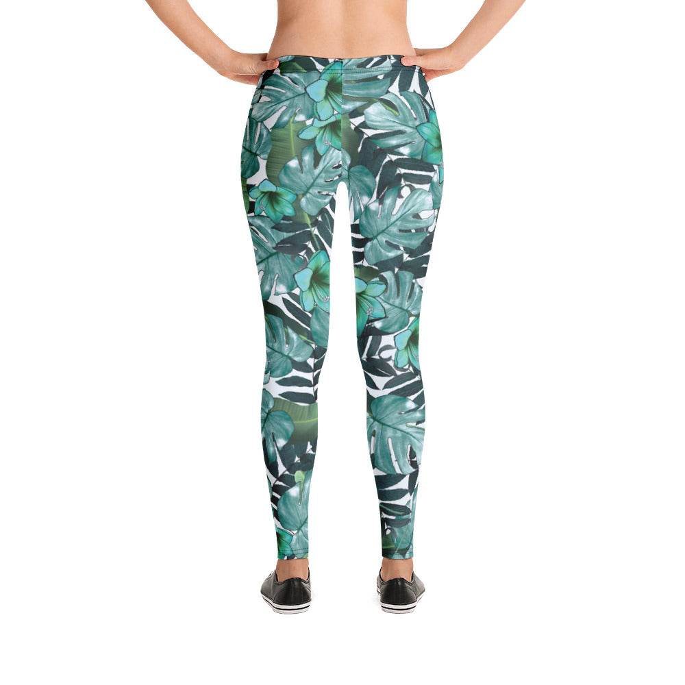 Green Floral Nature Leggings