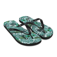 Load image into Gallery viewer, Green Floral Nature Flip-Flops Sandals