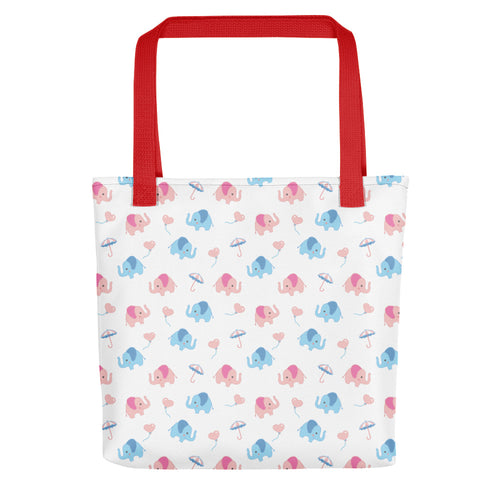 Happy Cute Elephants Tote Bag