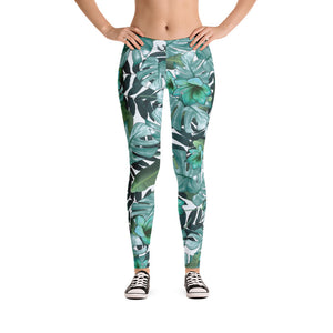 Trendy Green Floral Nature Leggings