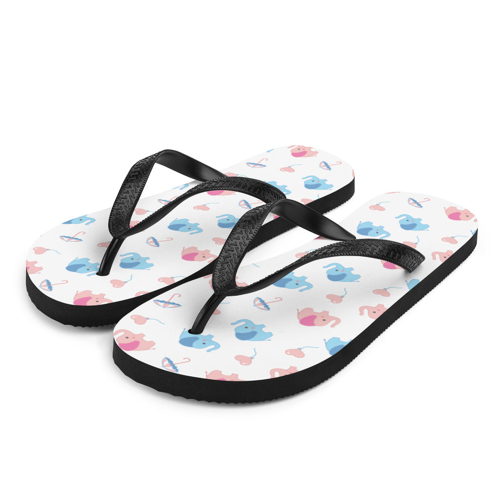 Happy Cute Elephant Flip-Flops