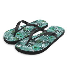 Load image into Gallery viewer, Green Floral Nature Flip-Flops