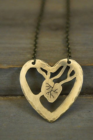 Necklace - Anatomical Heart Necklace - Pangea Handmade - 1