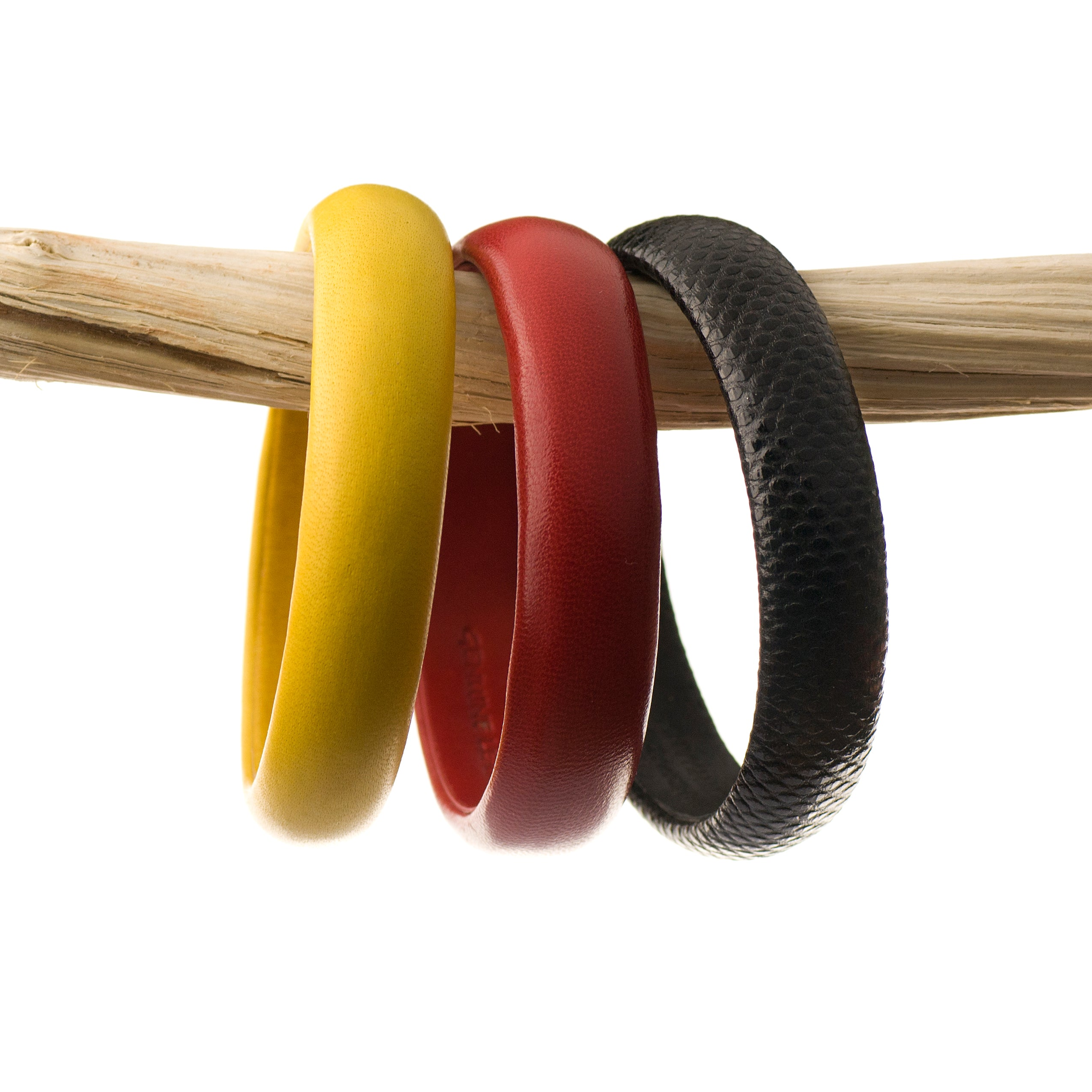 Set of three Luxe Leather Bangles The German Pride Colors ~ Black, Red, Gold Yellow