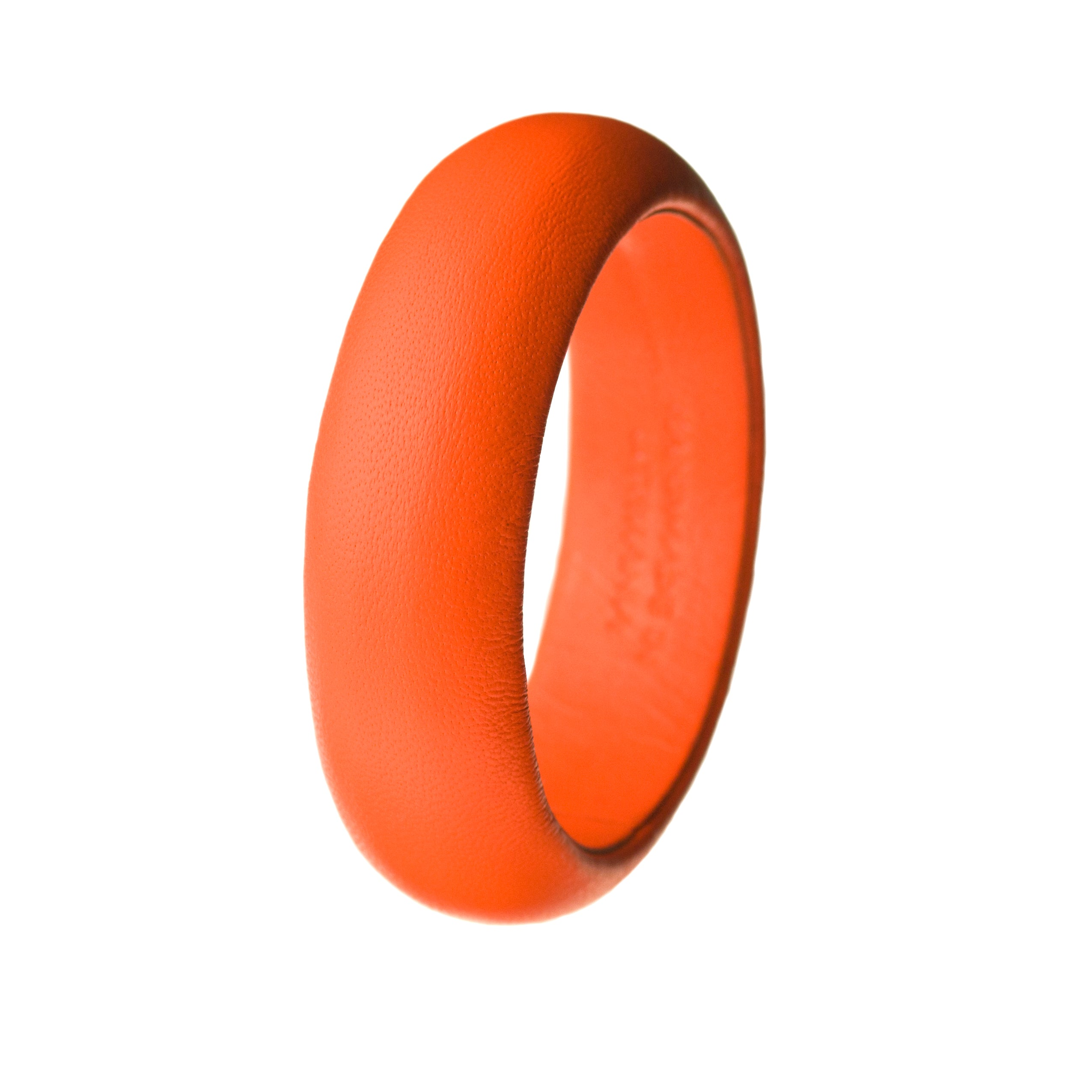 The Emma ~ Fluorescent Neon Orange Lambskin Leather Medium Bangle
