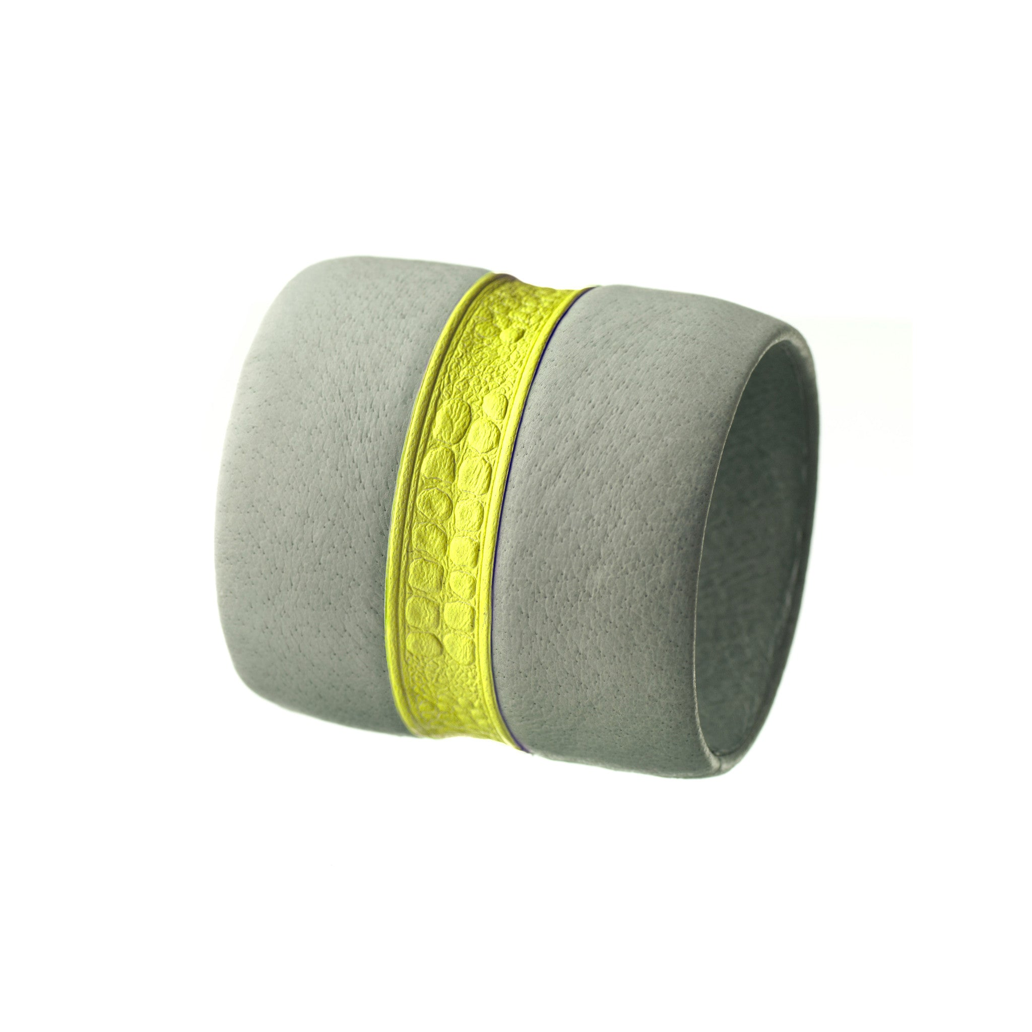 The Chloe ~ Large Chunky Gray and Neon Yellow Leather Bracelet