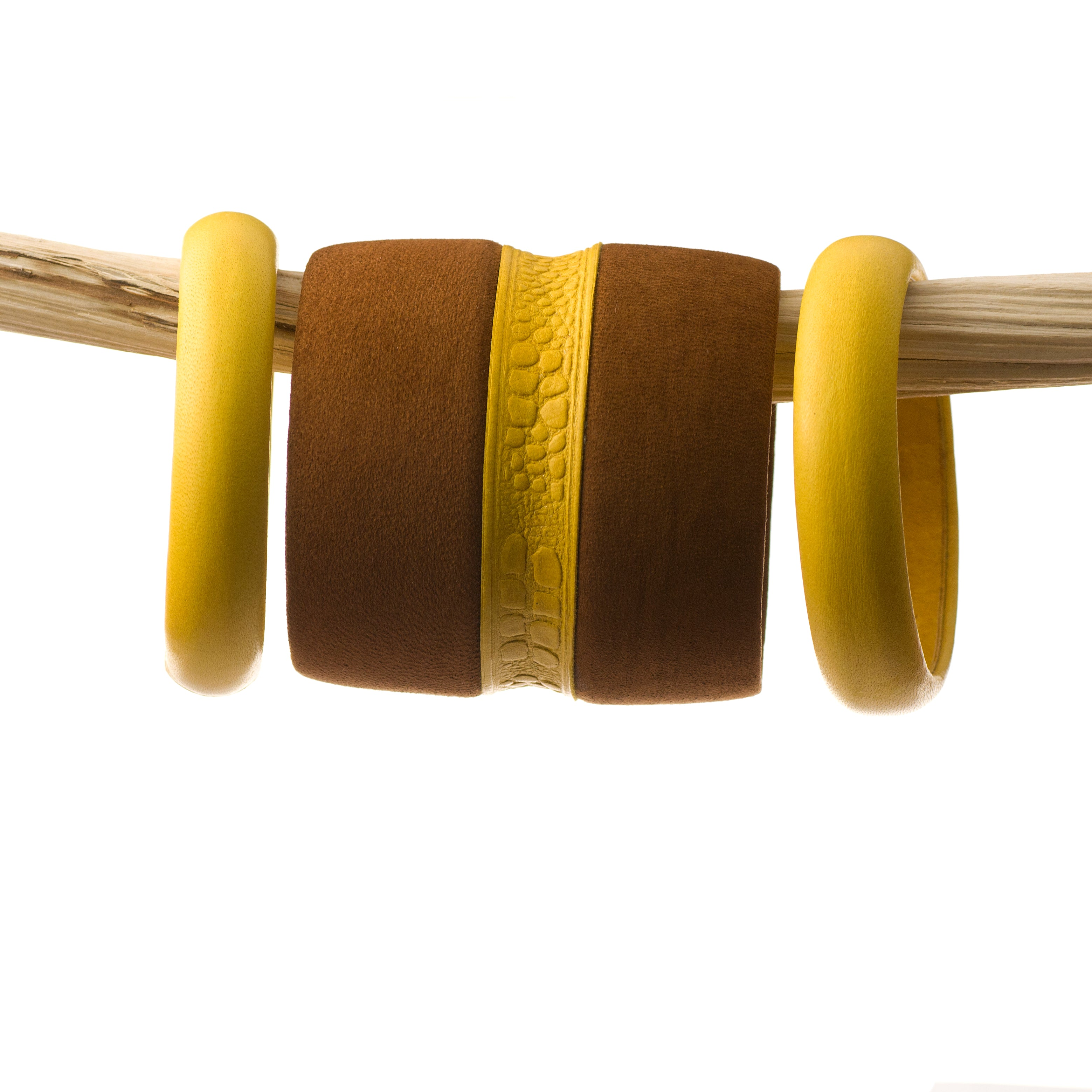 The Arm Party Warrior ~ Set of three Brown Nubuck and Embossed Mustard Yellow Deerskin Leather Bangle Bracelets
