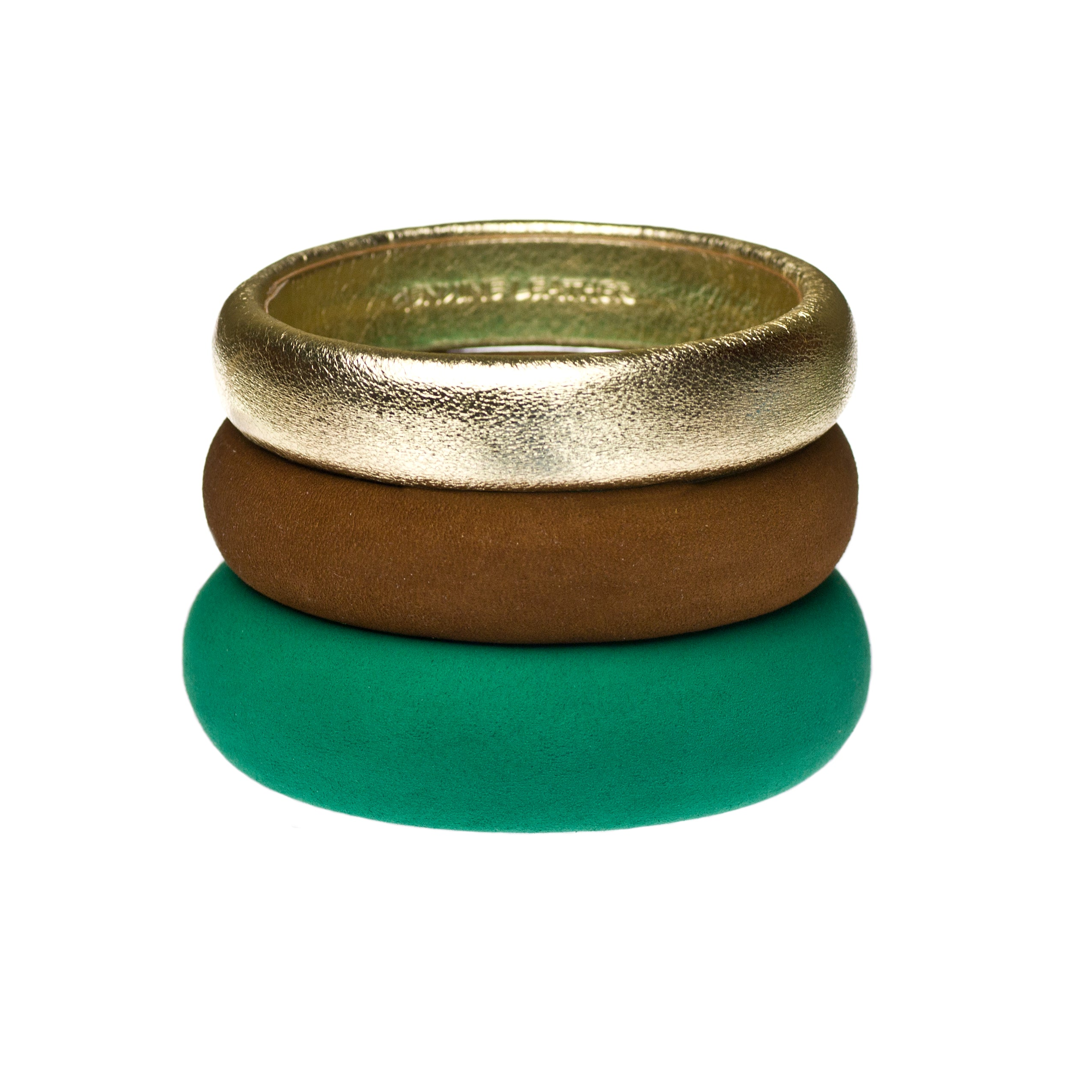 Set of three Luxe Leather Bangles ~ The Mixed Stack - Emerald, Brown and Gold