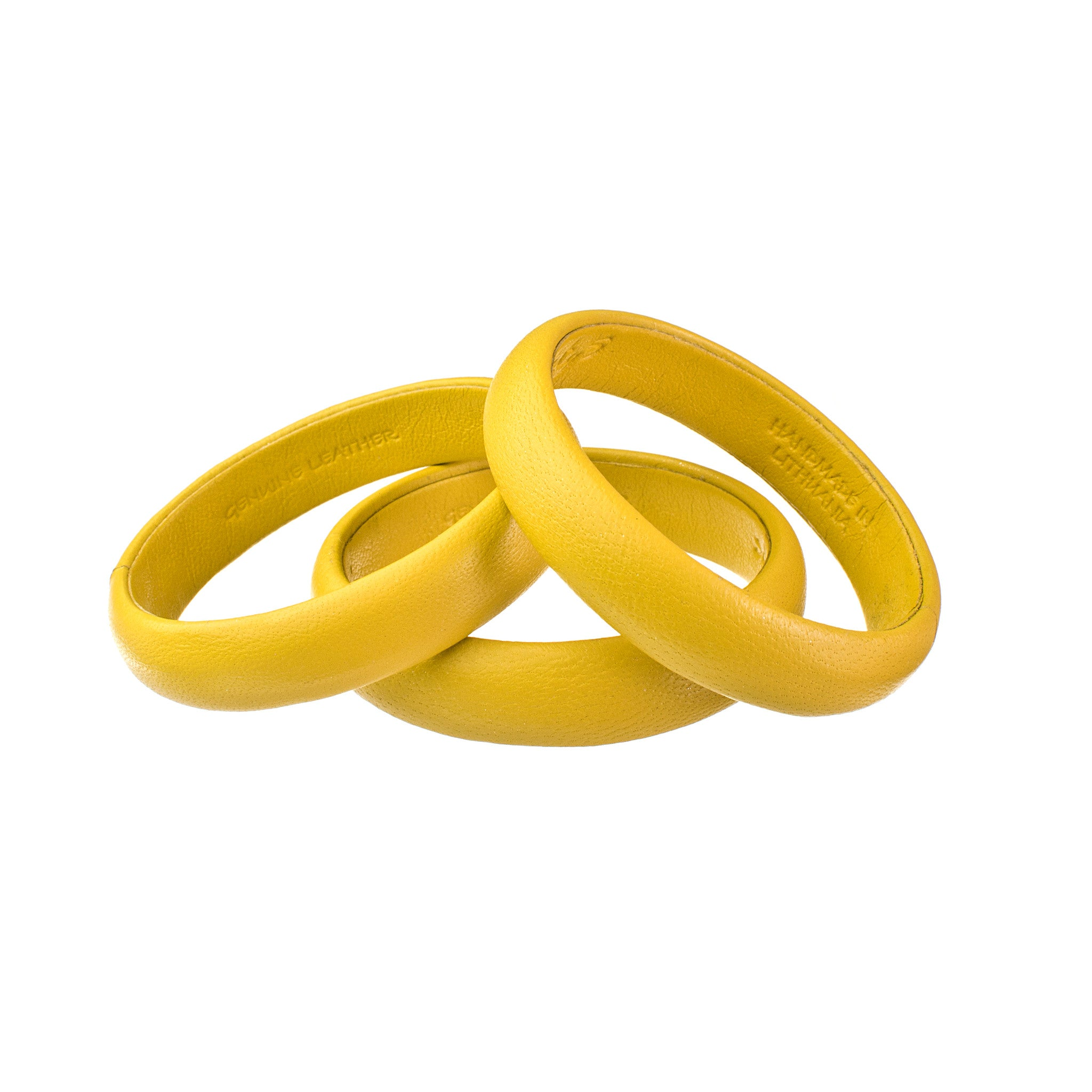Bright Yellow Small Leather Bangle Bracelet sd1Twenty5 stack