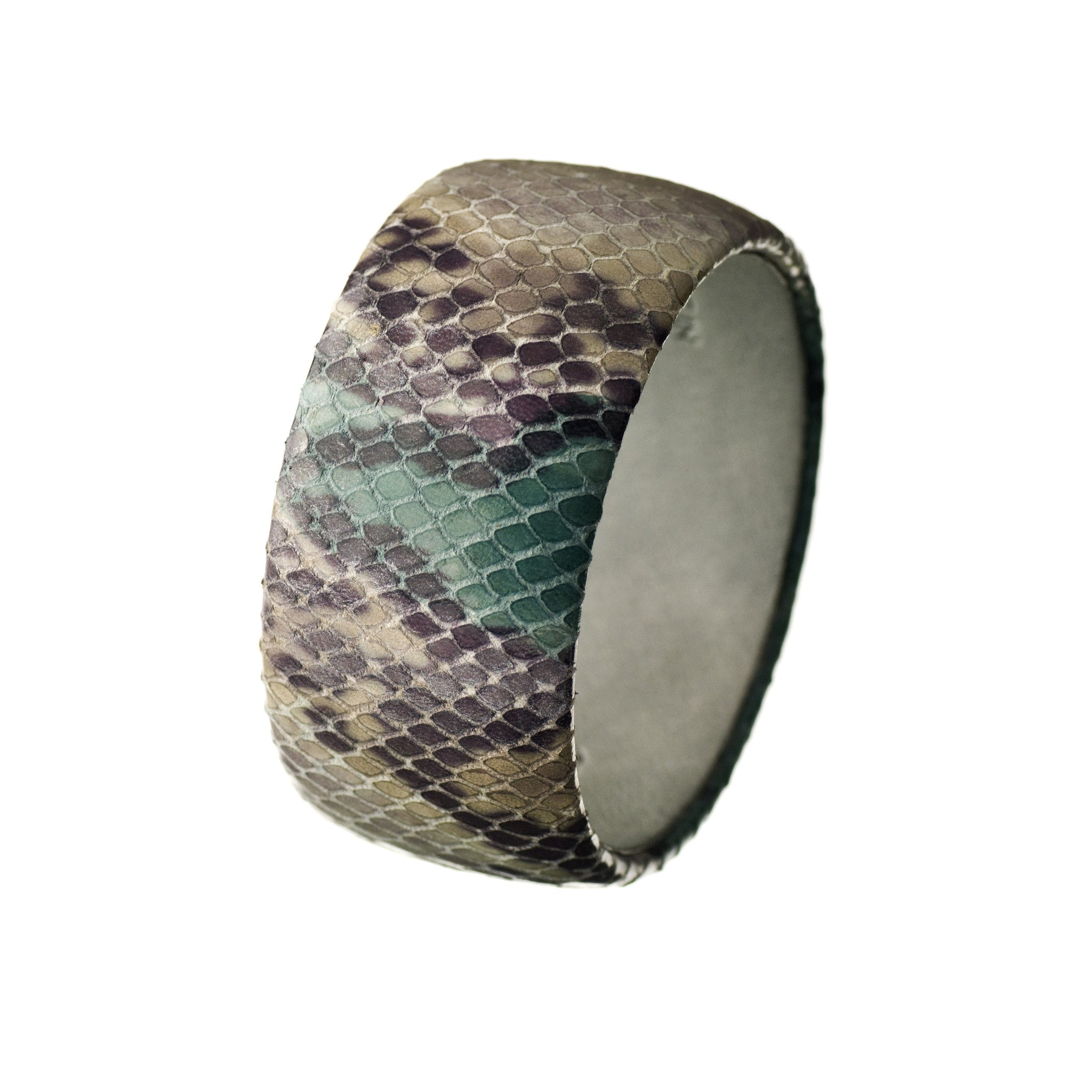 Our Best Seller! Caribbean Blue and Gray Python Snakeskin Leather Bracelet ~ The Bella Bangle