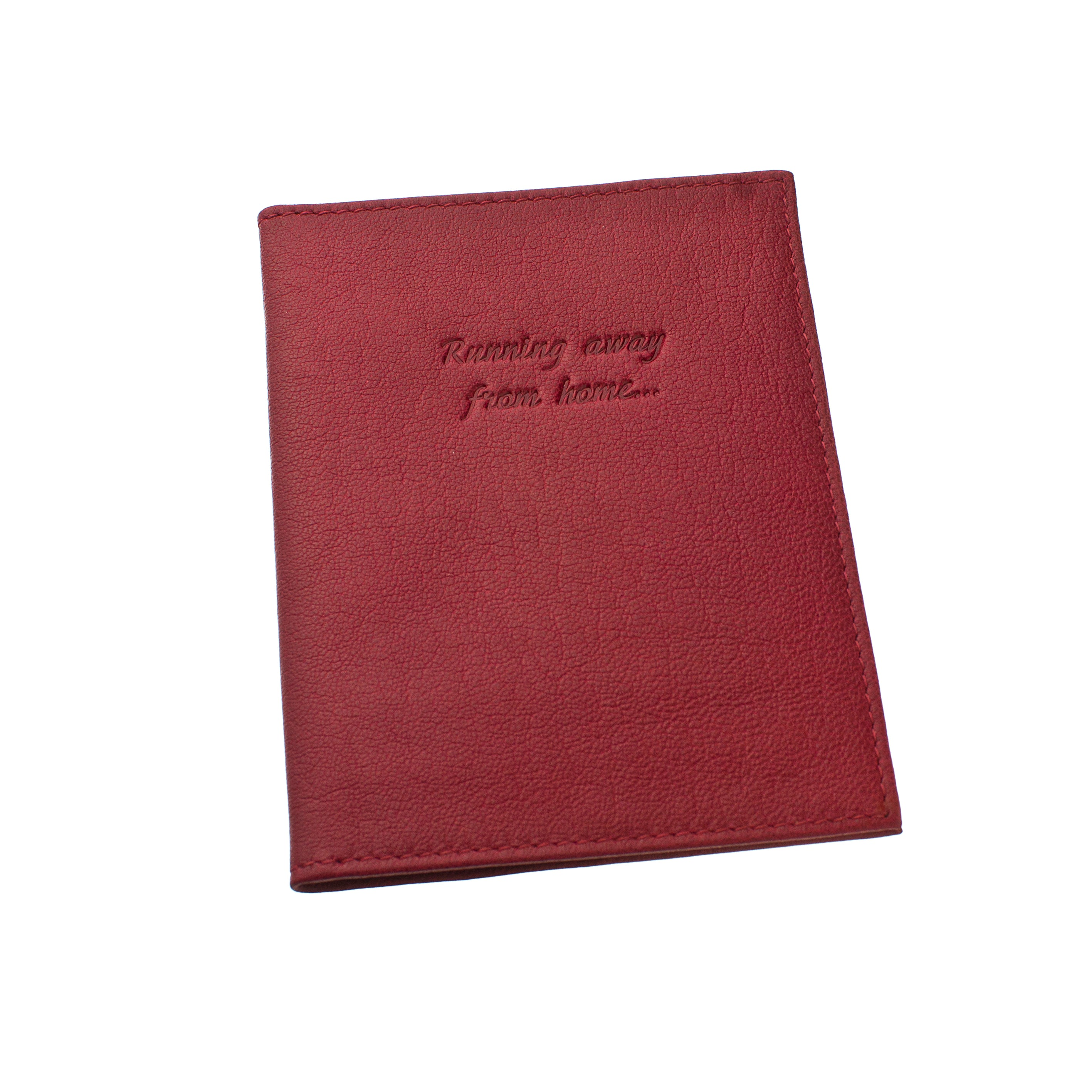 Deluxe Passport Cover with Card Slots ~ Raspberry Red Genuine Leather