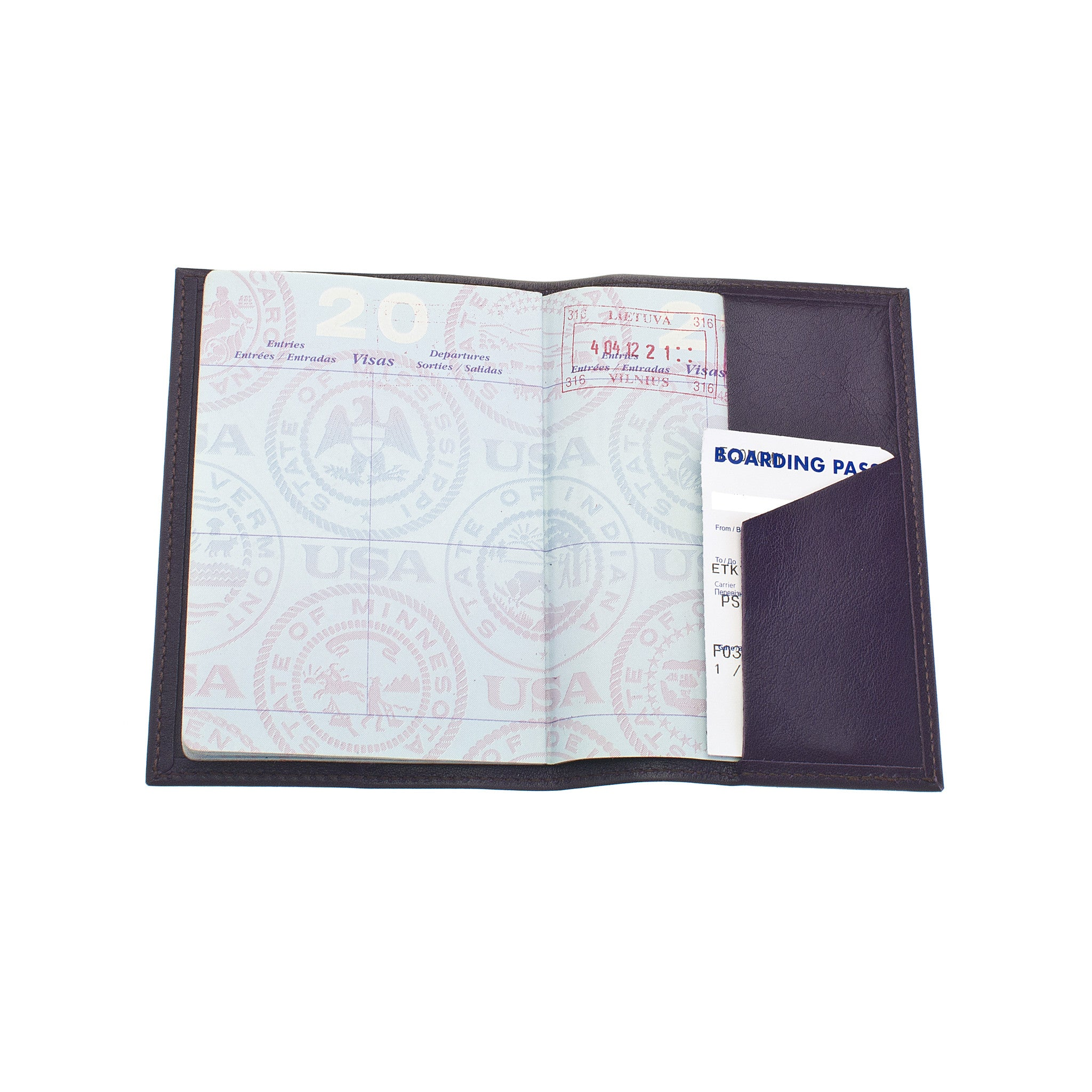Classic Passport Cover ~ Eggplant Purple Genuine Leather