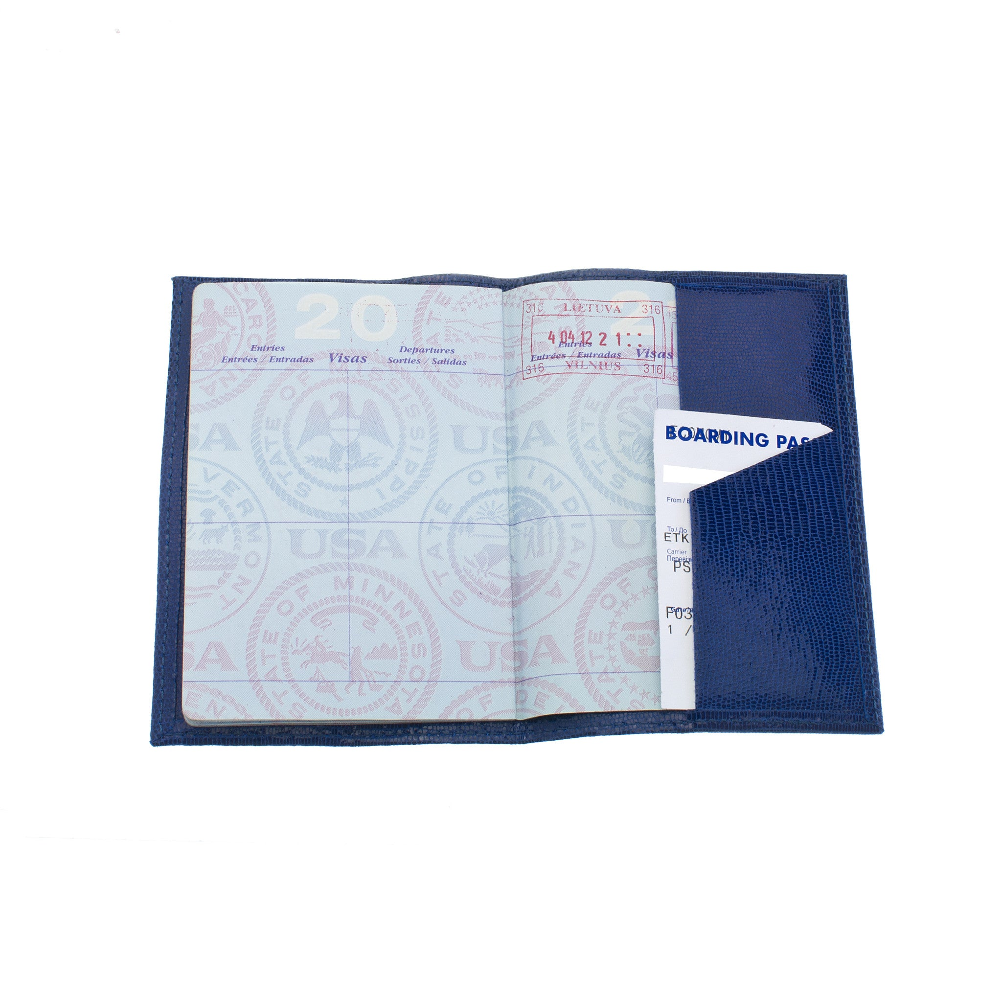 Classic Passport Cover ~ Blue Lizard Skin Embossed Genuine Leather