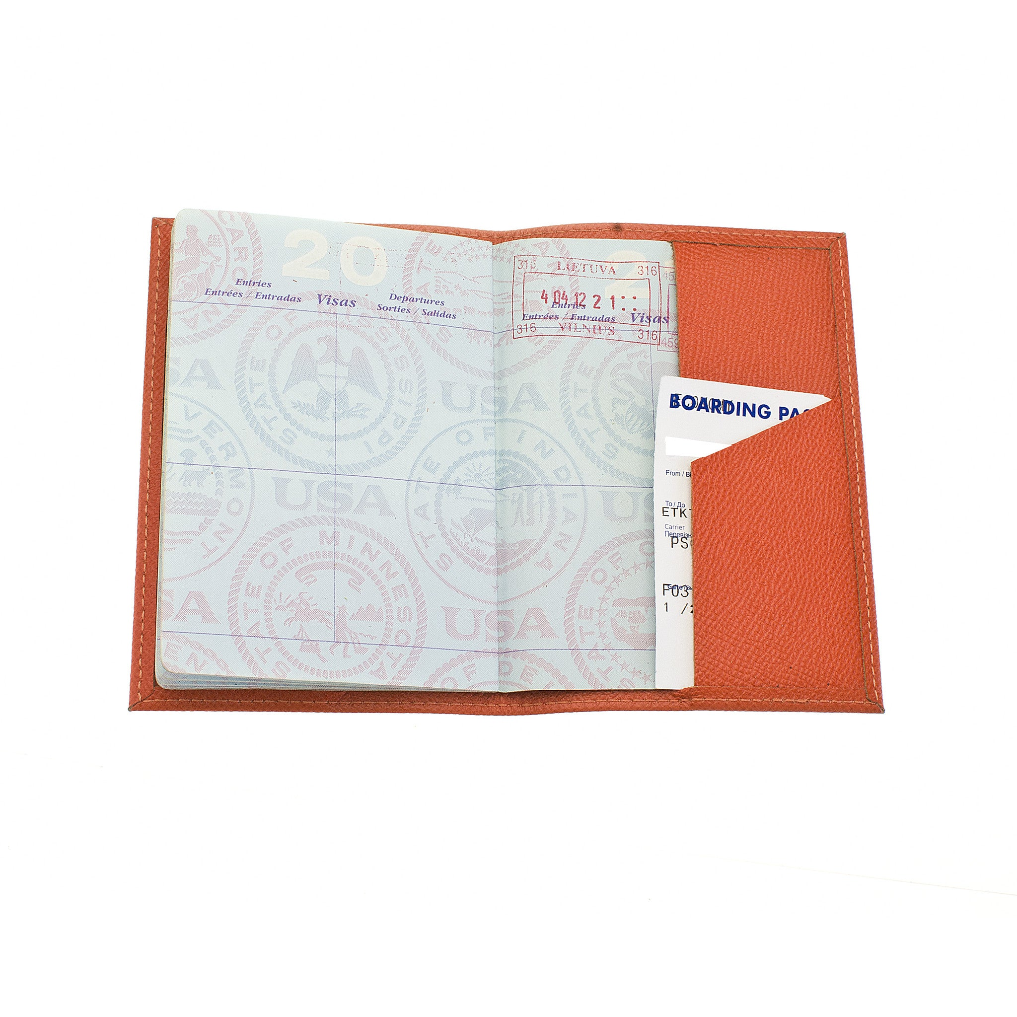 Classic Passport Cover ~ Mandarin Orange Genuine Leather