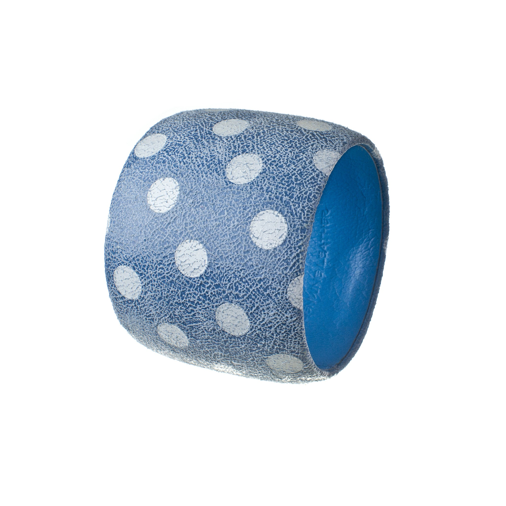Fiona ~ Blue Retro Polka Dotted Genuine Leather Bracelet