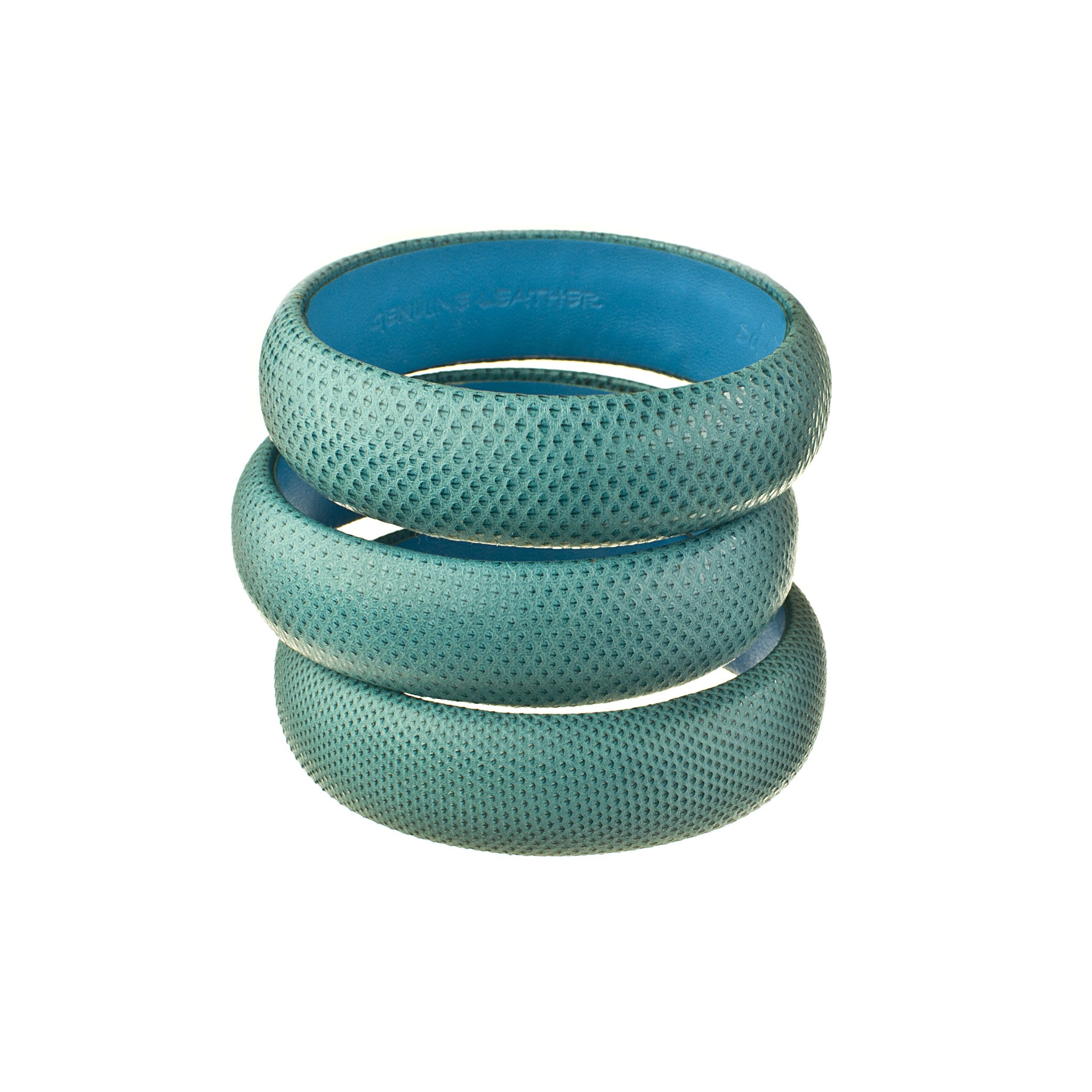 blue snakeskin leather medium bracelet stack