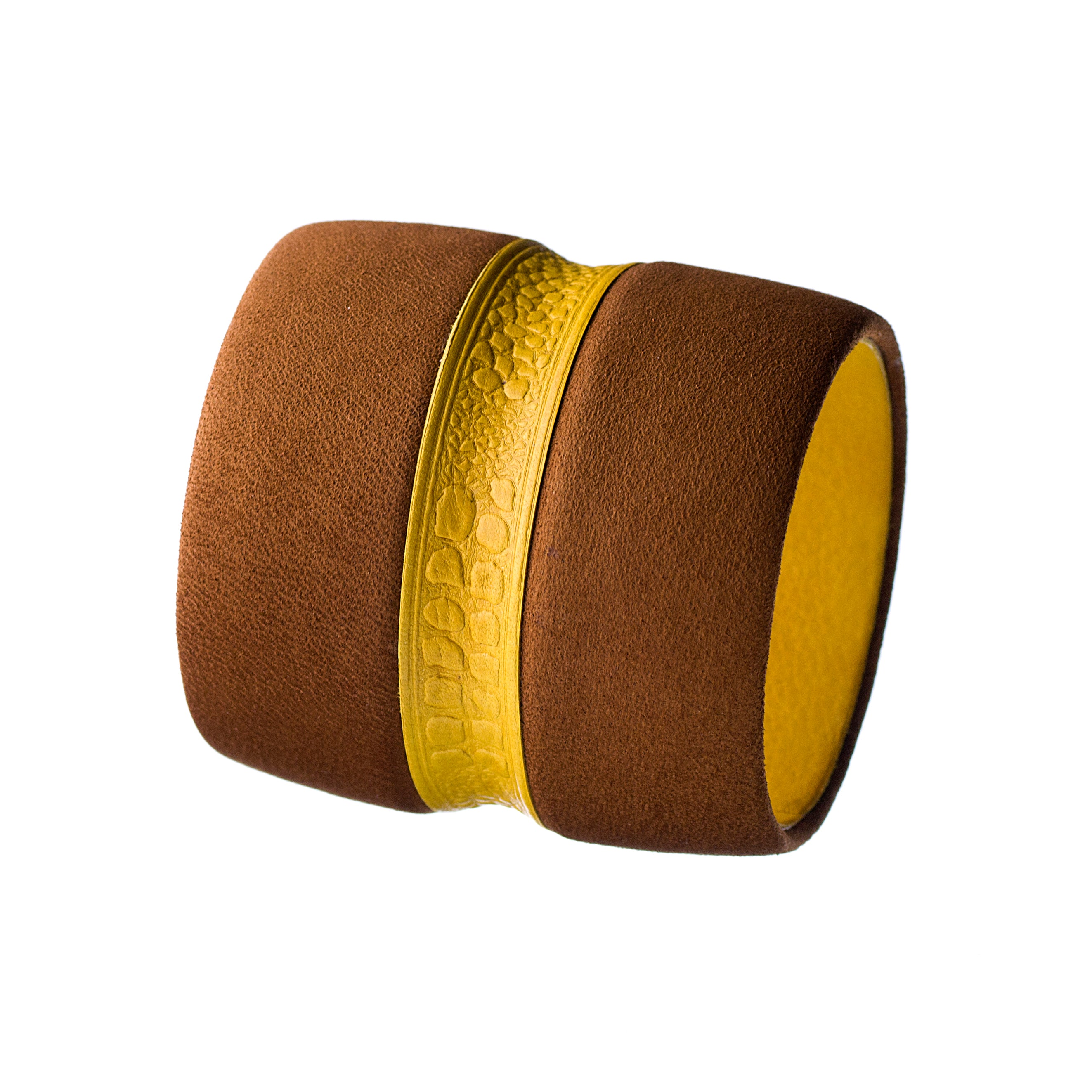The Chloe ~ Large Chunky Brown Nubuck and Embossed Mustard Yellow Deerskin Leather Bracelet
