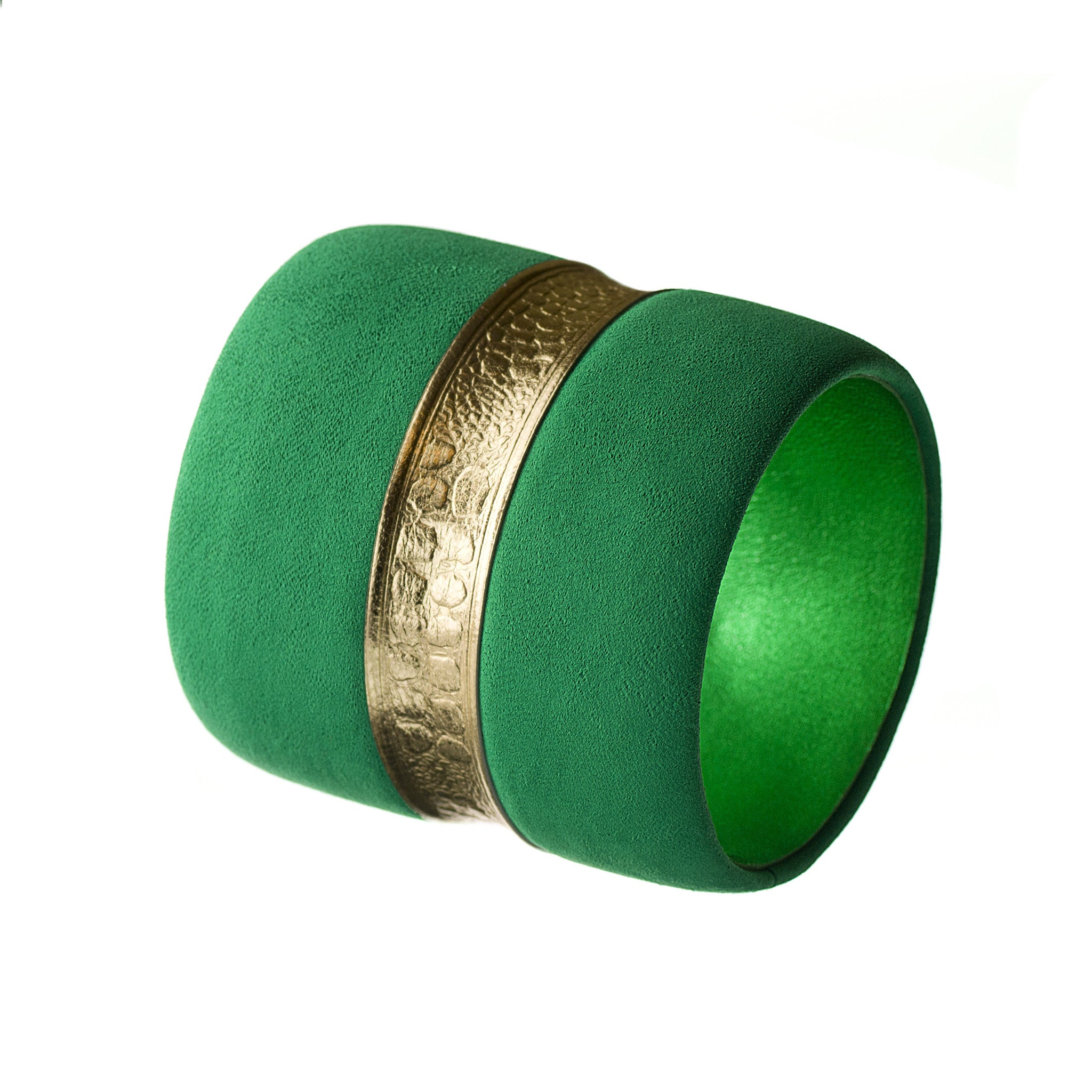 The Chloe ~ Large Chunky Emerald Green Nubuck and Gold Embossed Leather Bracelet