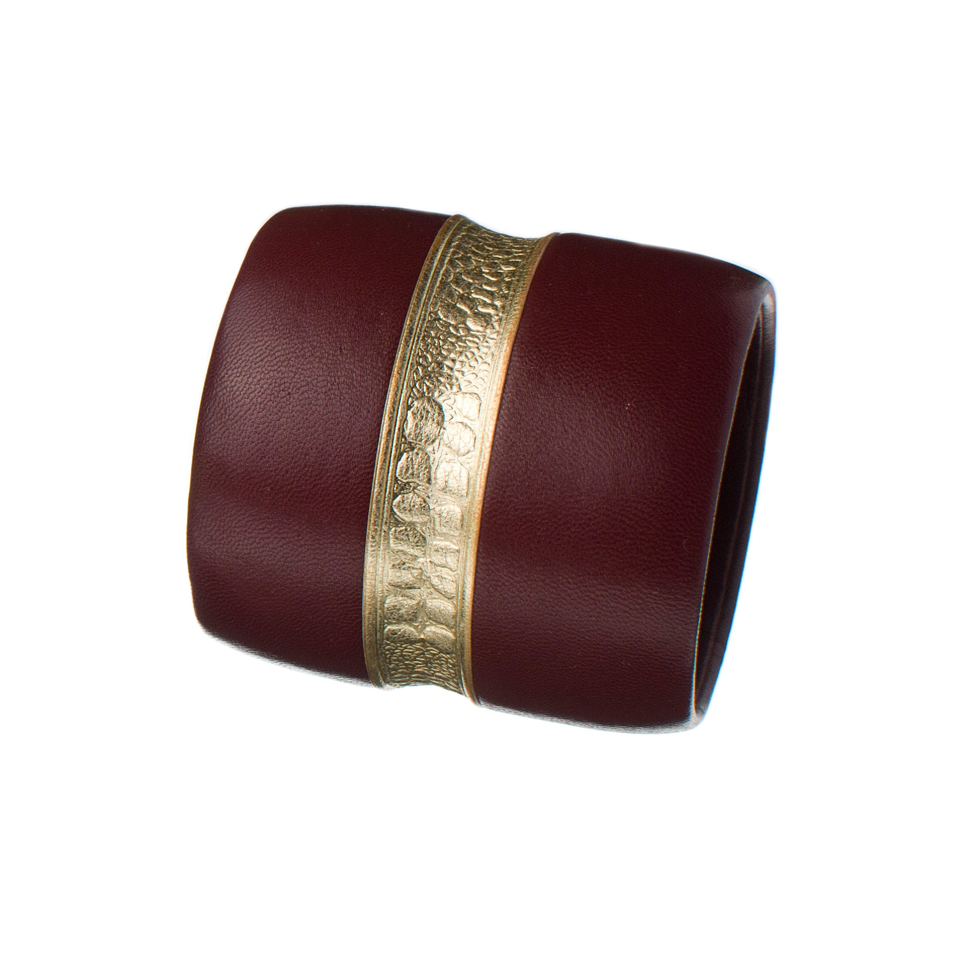 The Chloe ~ Large Chunky Burgundy Italian Lambskin and Embossed Gold Leather Bracelet