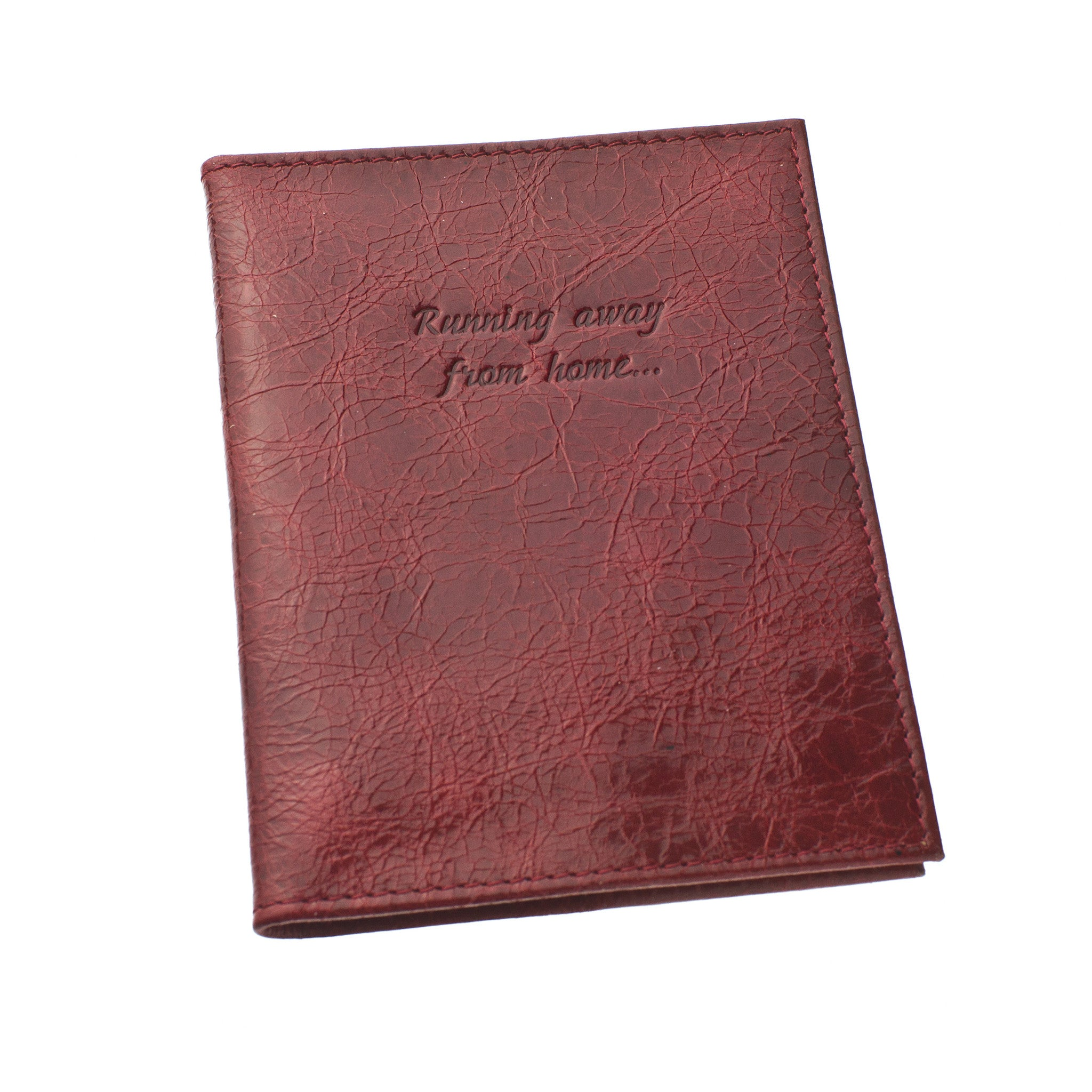 Classic Passport Cover ~ Weathered Cherry Red Genuine Leather