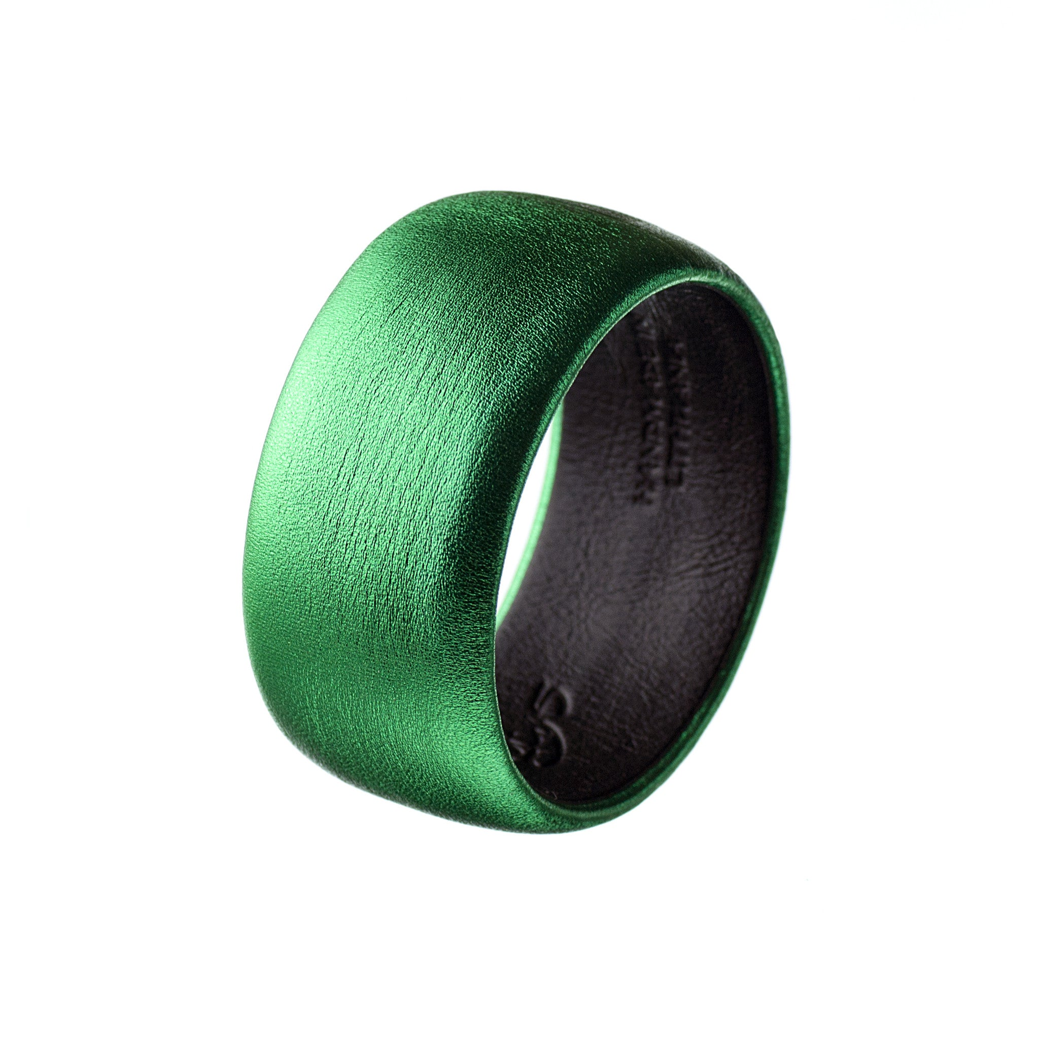 Metallic Emerald Leather Bangle Bracelet ~ Bella Wide Bangle