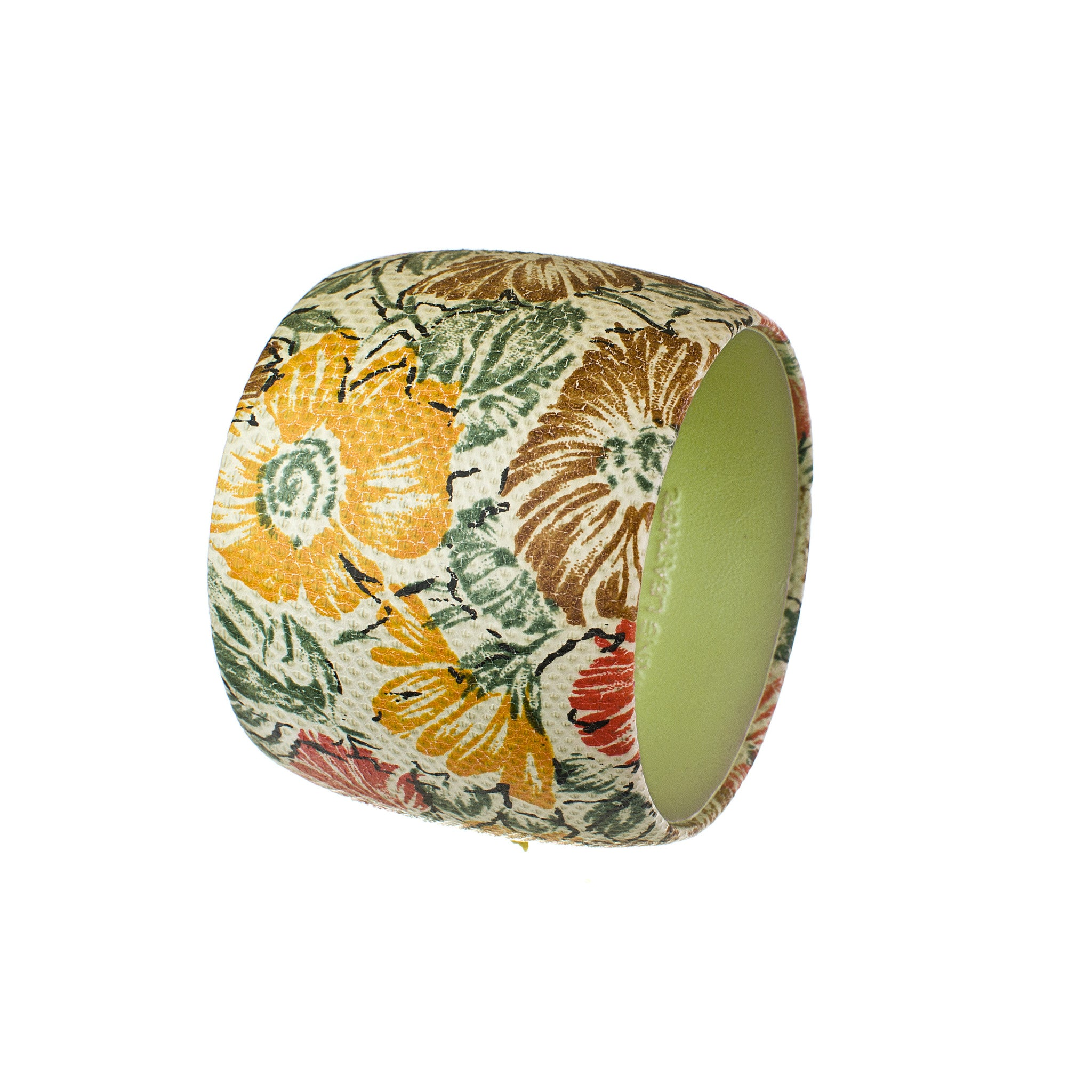 Hand Painted Floral Genuine Snakeskin Bangle Bracelet