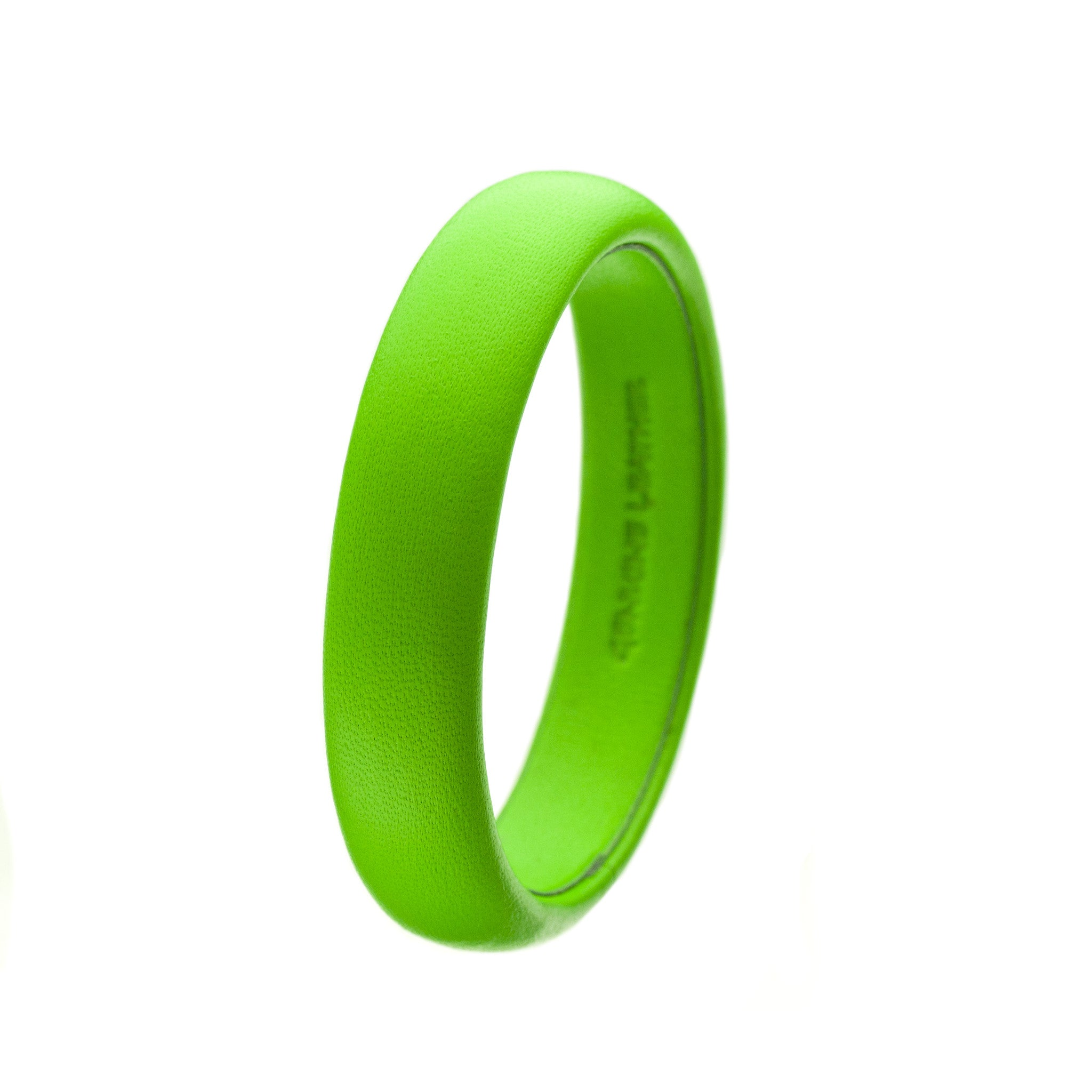 The Aria Bangle ~ Fluorescent Neon Green Lambskin Leather Bangle Bracelet