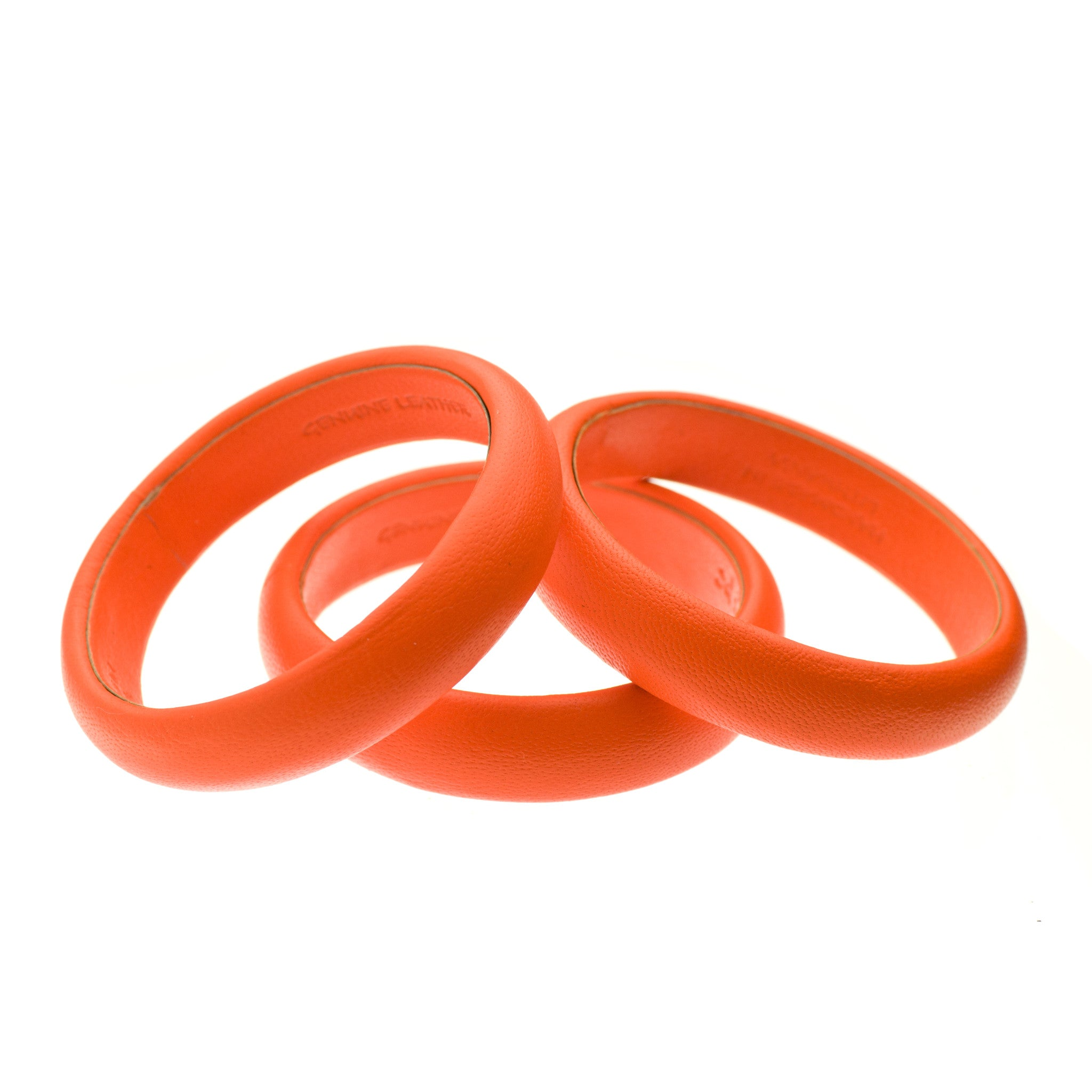 Fluorescent Neon Orange Leather Bangle Bracelet inside made in Lithuania sd1Twenty5