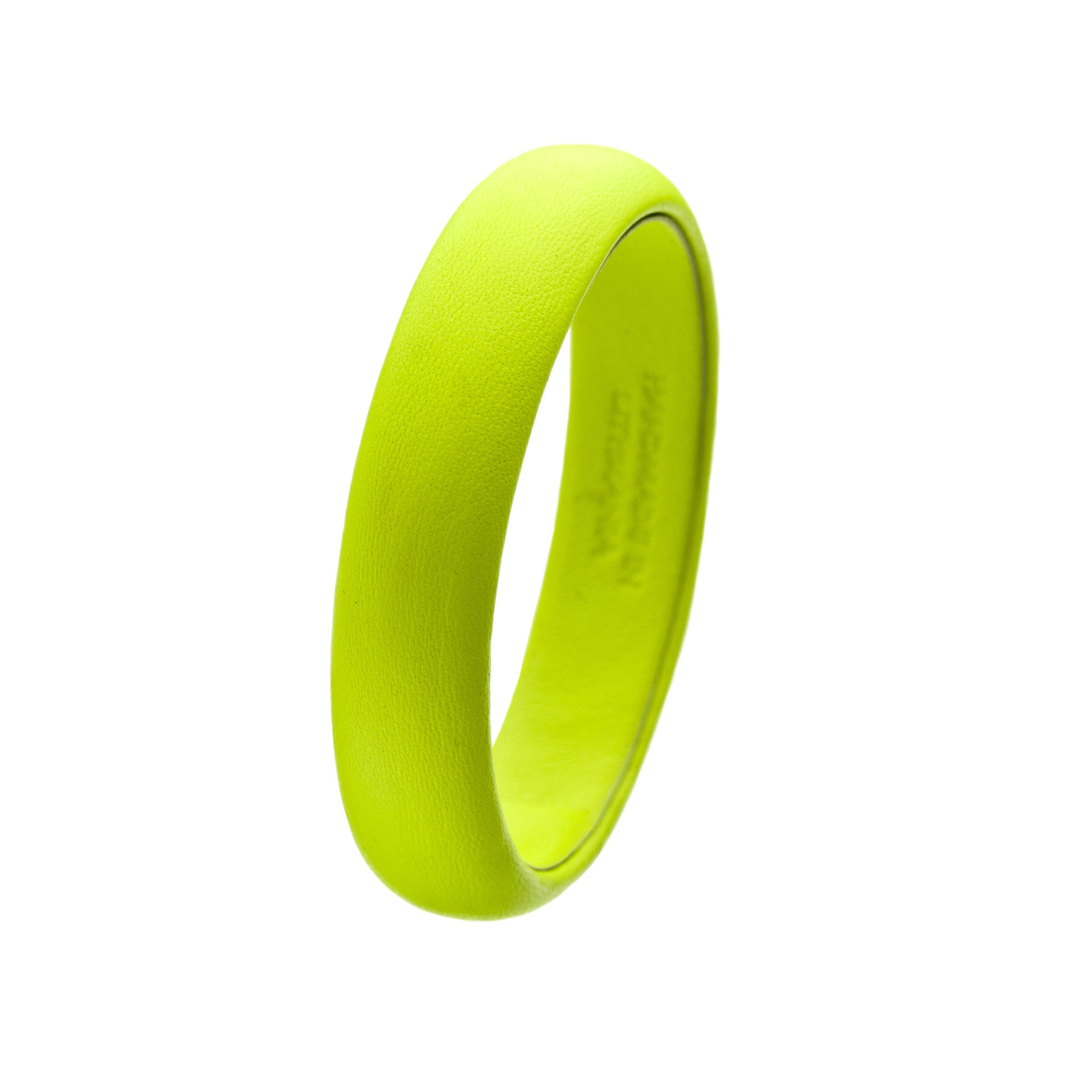 The Aria Bangle ~ Fluorescent Neon Yellow Lambskin Leather Bangle Bracelet
