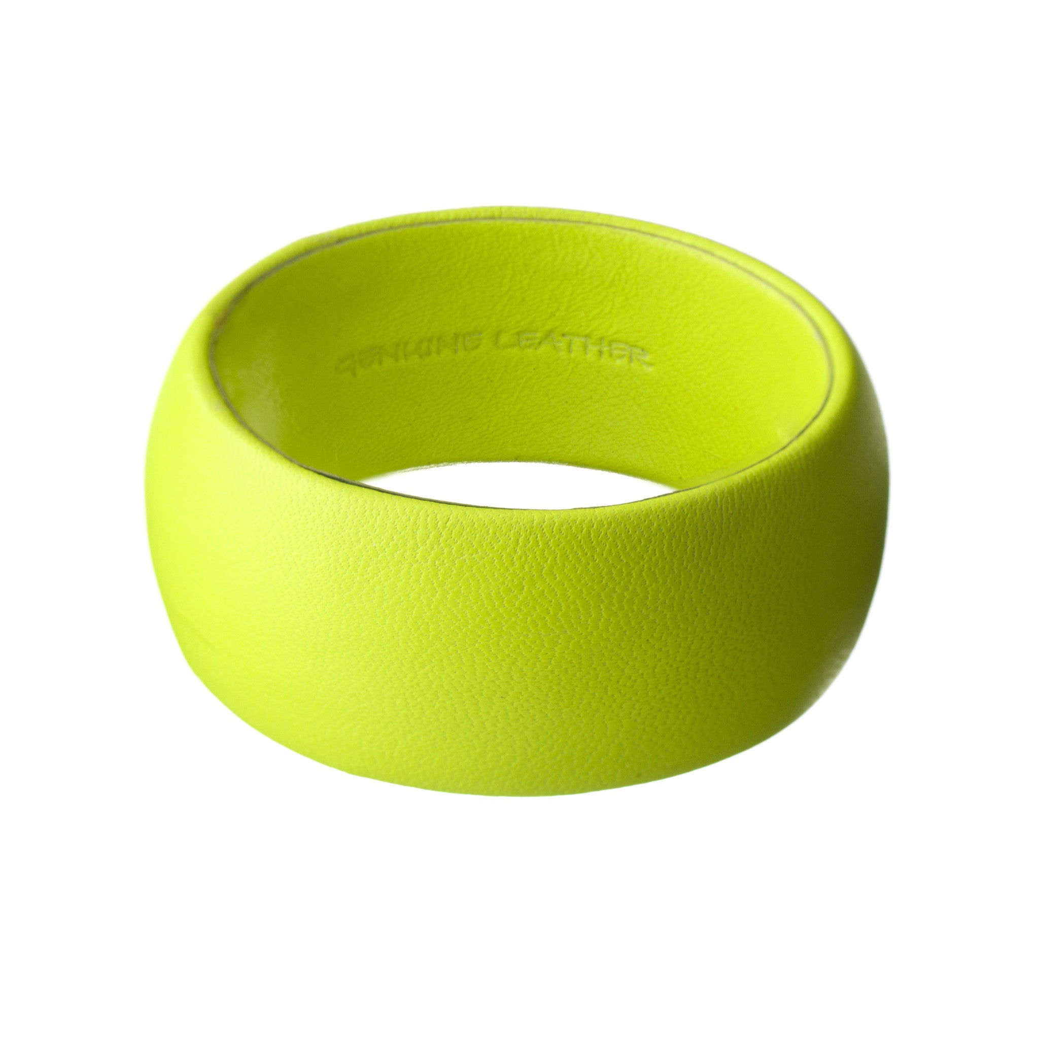 Fluorescent Neon Yellow Lambskin Leather Bracelet ~ Bella Wide Bangle