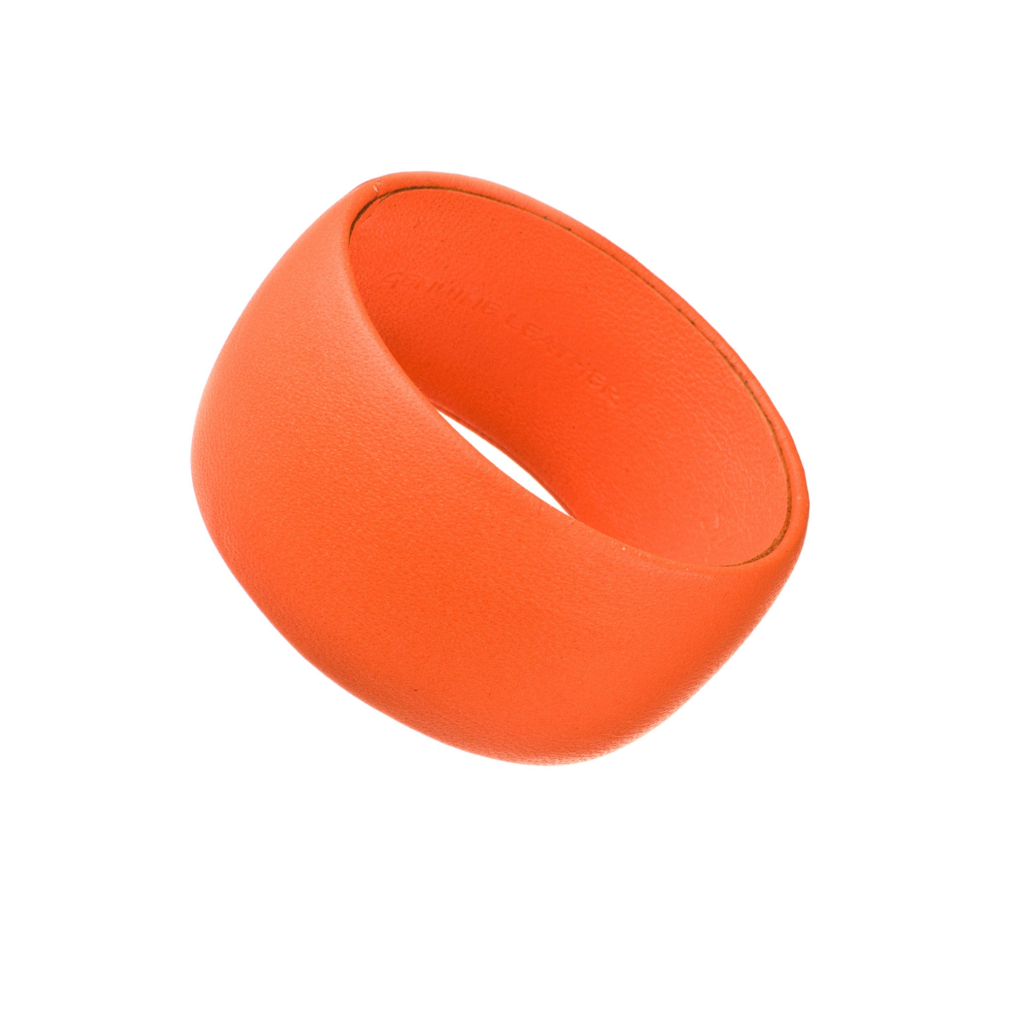 Fluorescent Neon Orange Leather Bracelet ~ Bella Wide Bangle