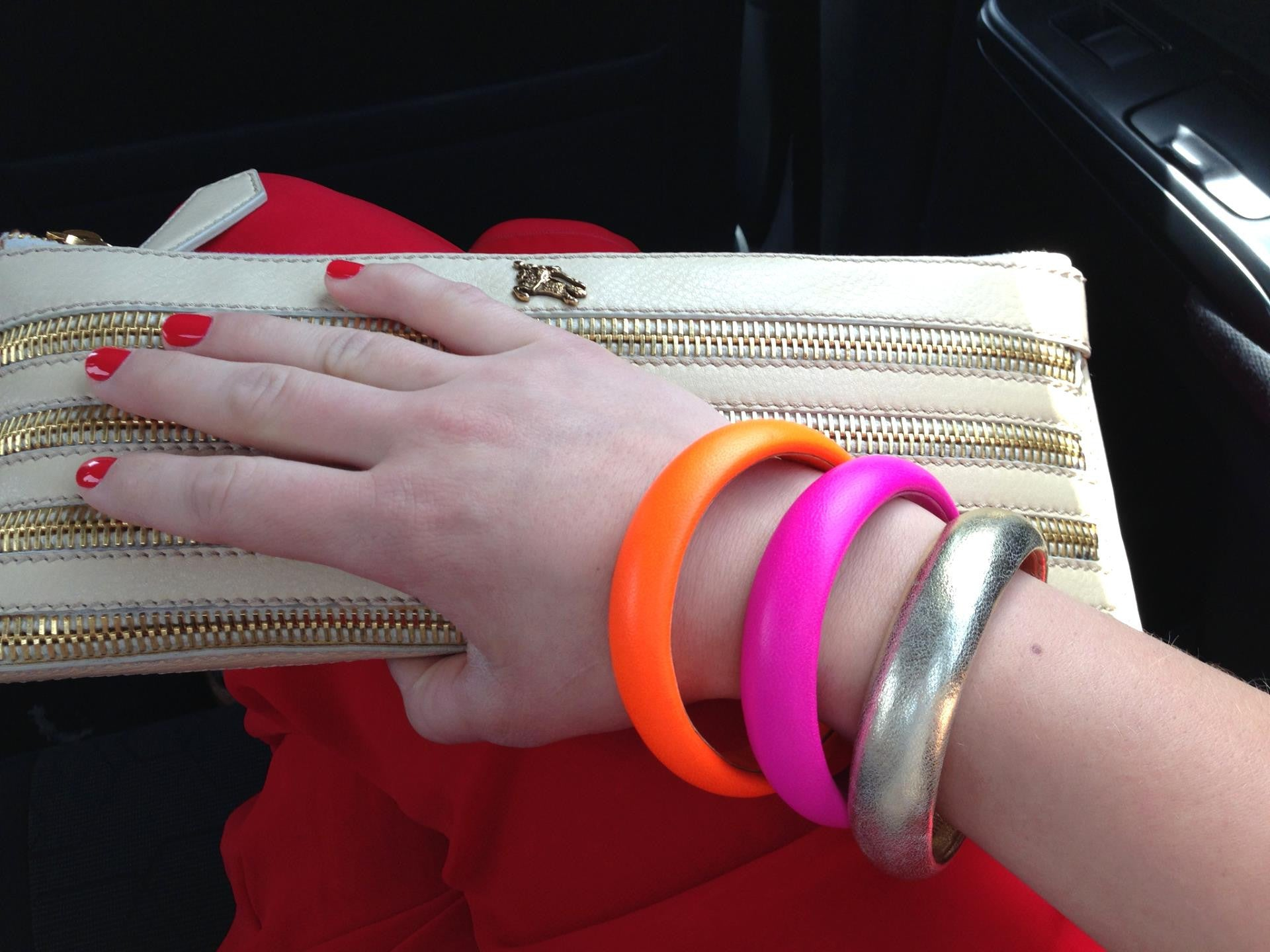 The Aria Bangle ~ Fluorescent Neon Orange Lambskin Leather Bangle Bracelet