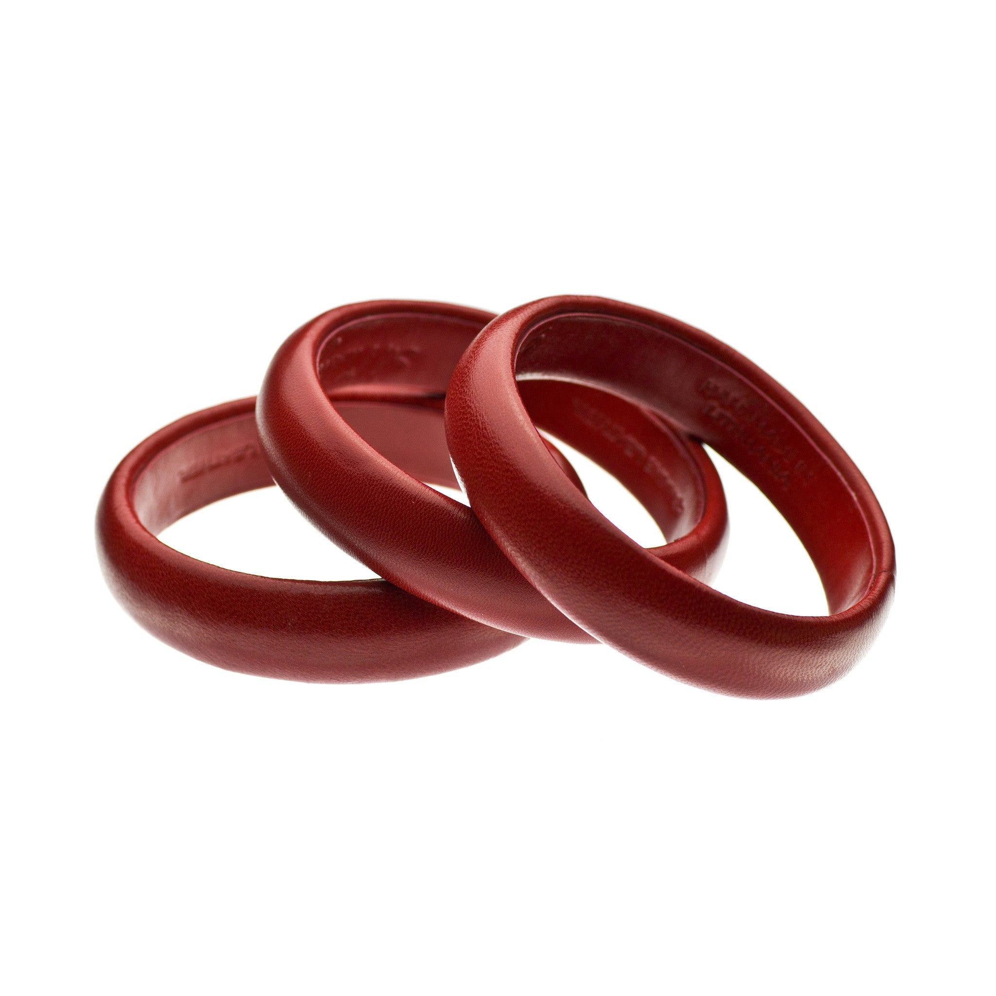 The Aria Bangle ~ Rich Cherry Red Kidskin Leather Bangle Bracelet