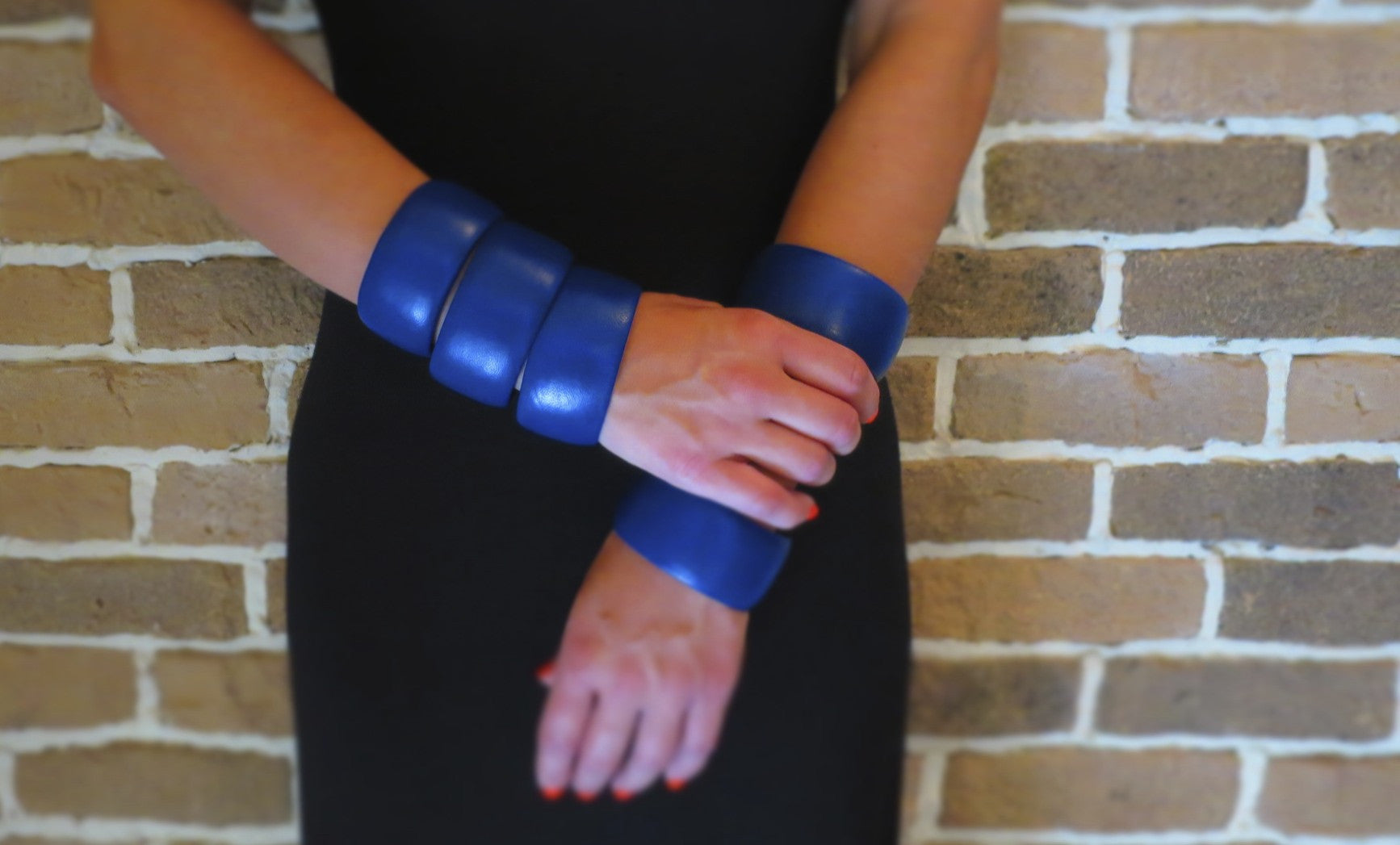 Royal Blue Lambskin Leather Bracelet ~ Bella Wide Bangle
