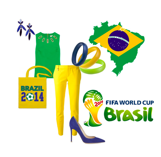 world cup fifa brazil outfit inspiration yellow leather bangle bracelets