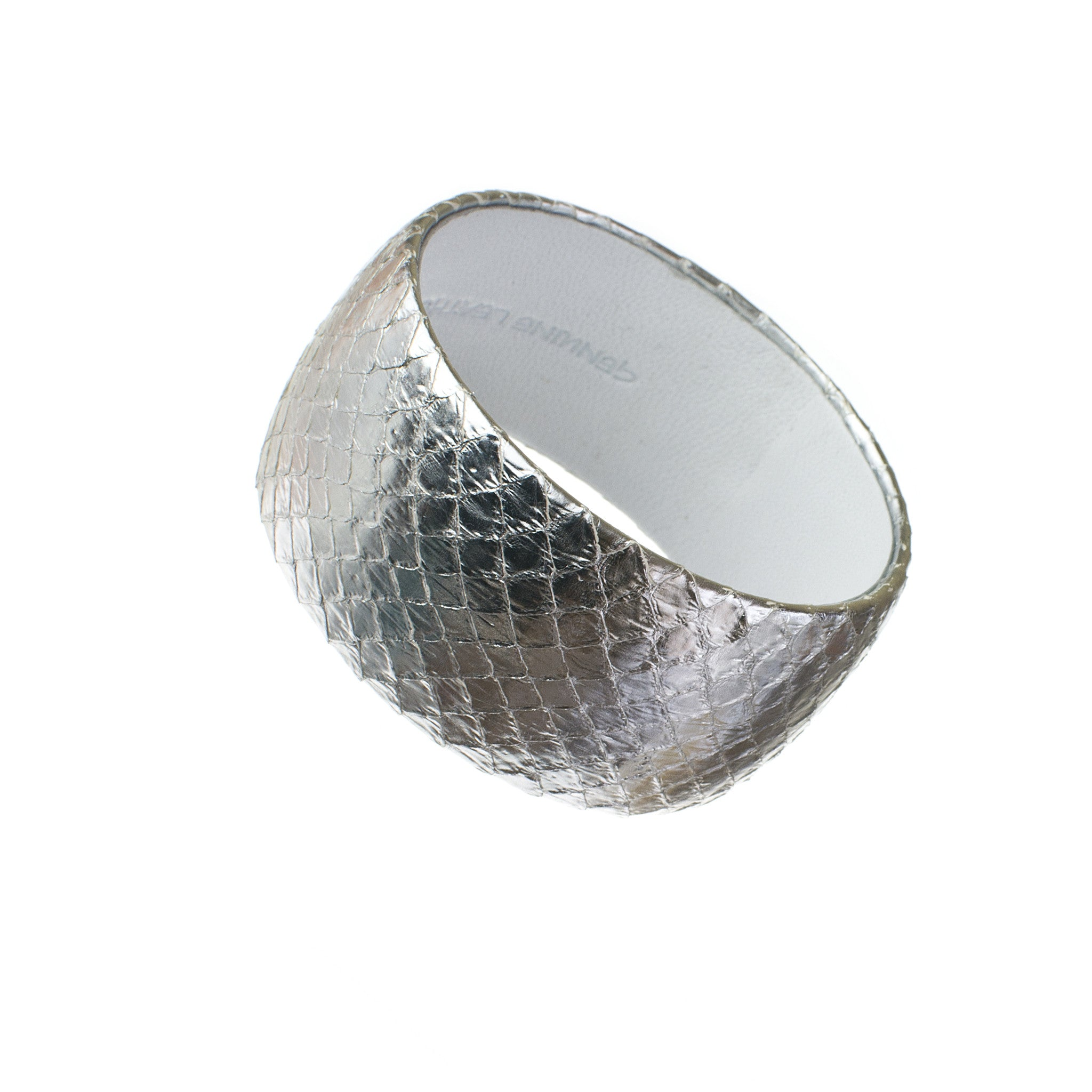 Silver Snakeskin Wide Leather Bangle Bracelet sd1Twenty5 on sale