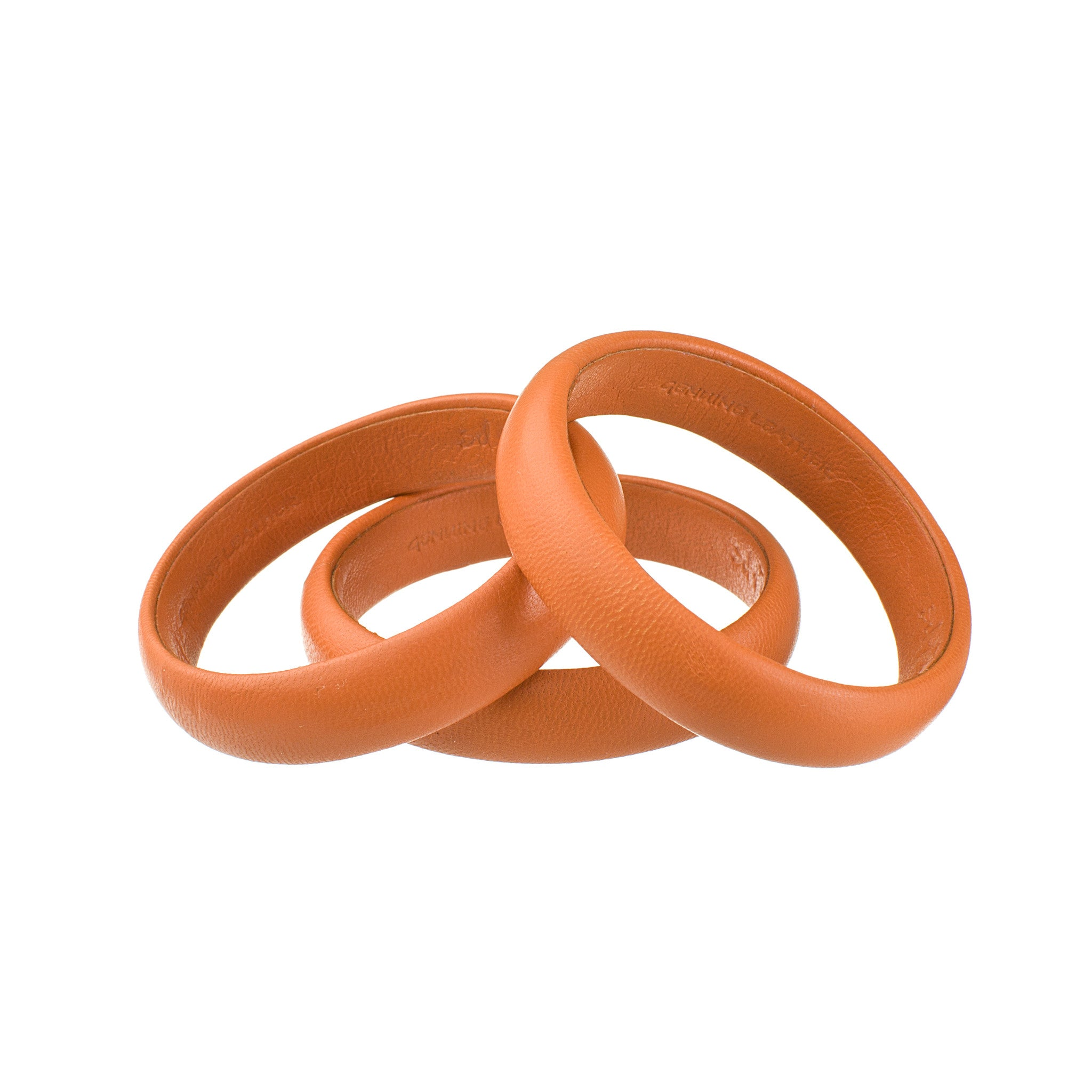 Vintage Orange Petite Leather Bangle Bracelet sd1Twenty5 stack