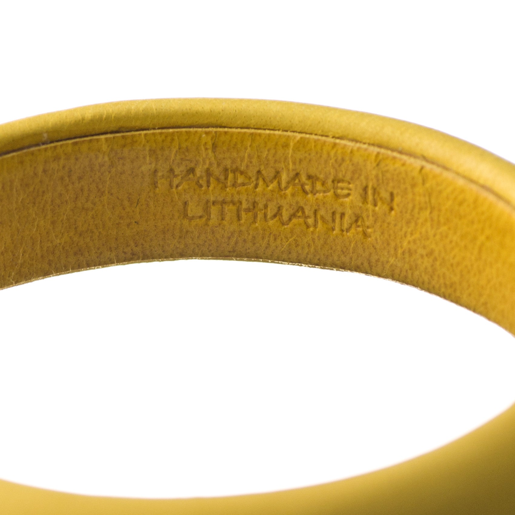 Yellow Leather Bangle Bracelet inside made in Lithuania sd1Twenty5