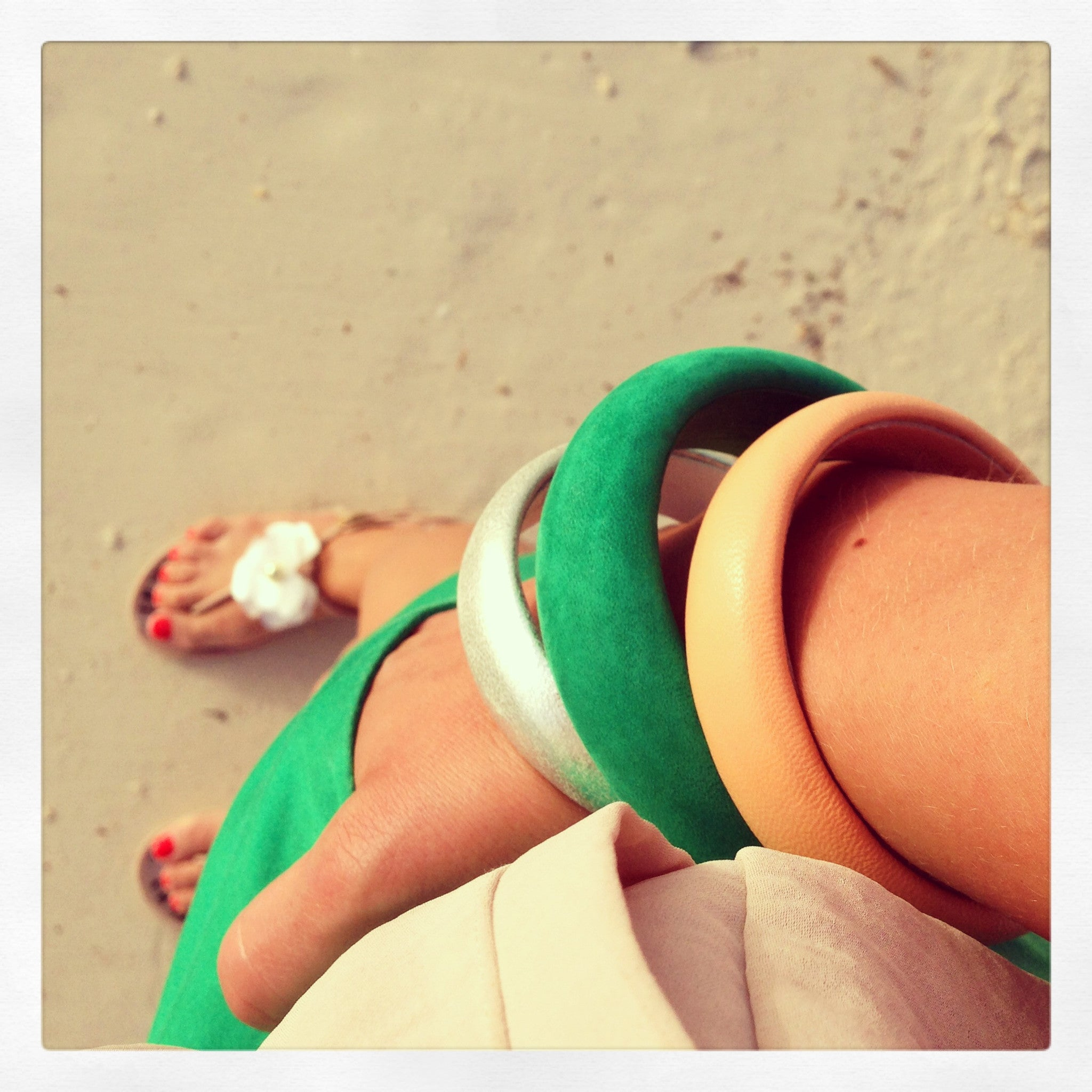 beach arm party in aruba neutral bracelets