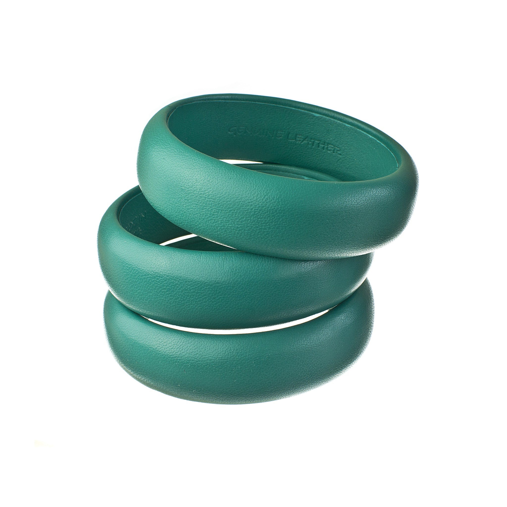 teal blue green leather bangles stack