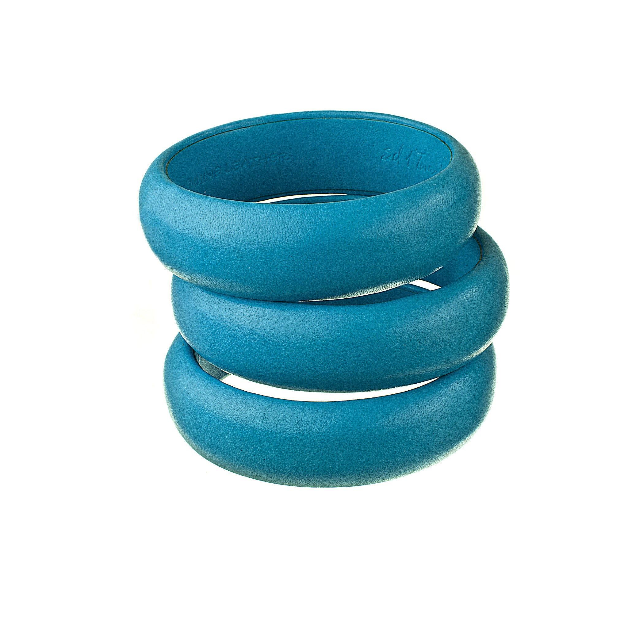 turquoise blue leather bracelets stack